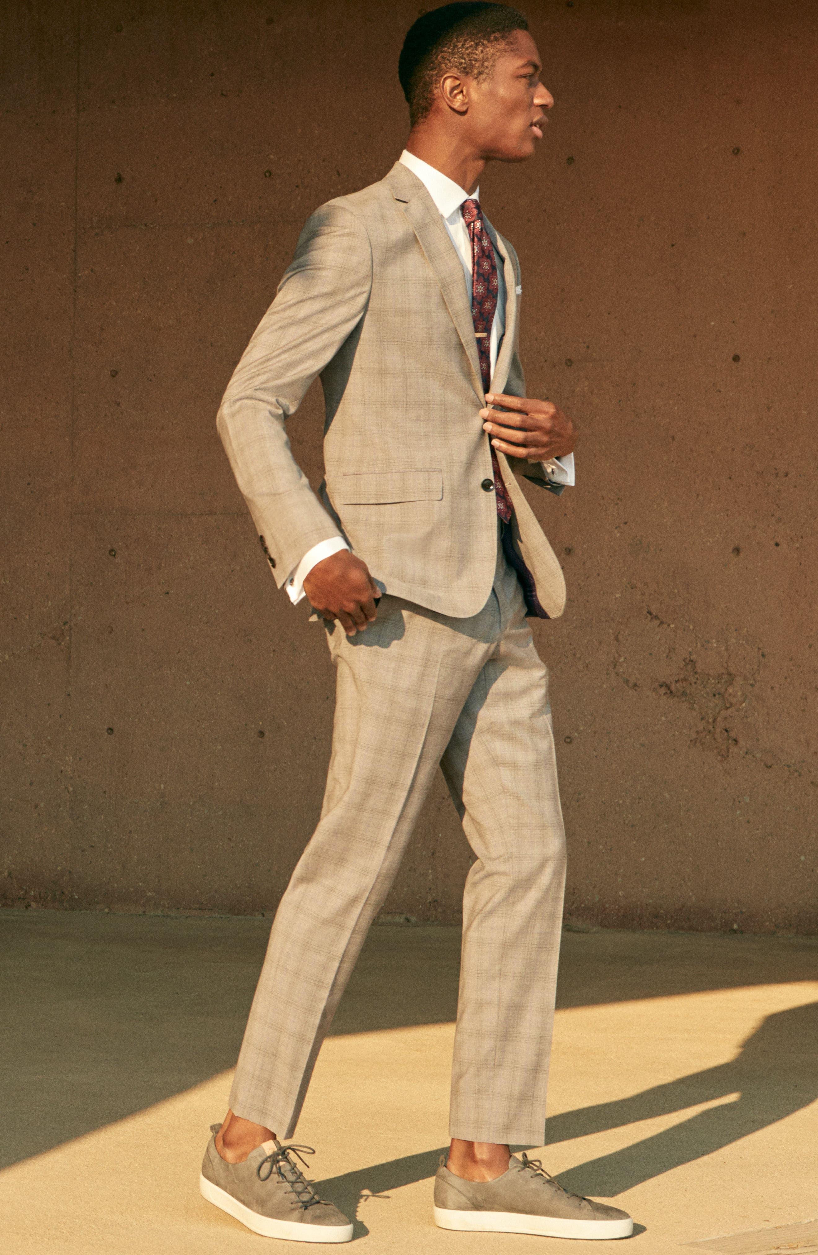 Jay Trim Fit Plaid Wool Suit,                             Alternate thumbnail 11, color,                             050