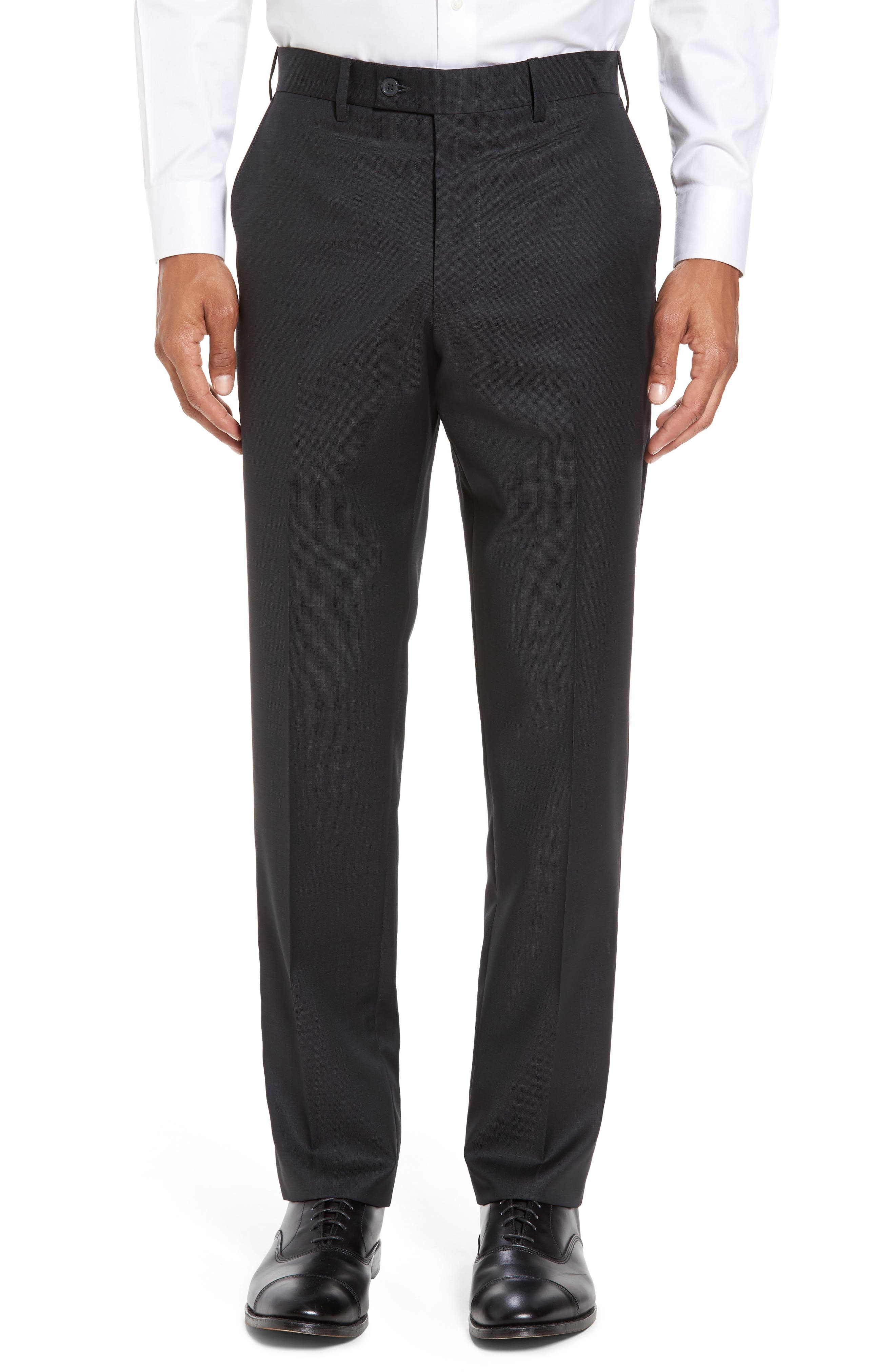 Flat Front Solid Wool Trousers,                         Main,                         color, 010