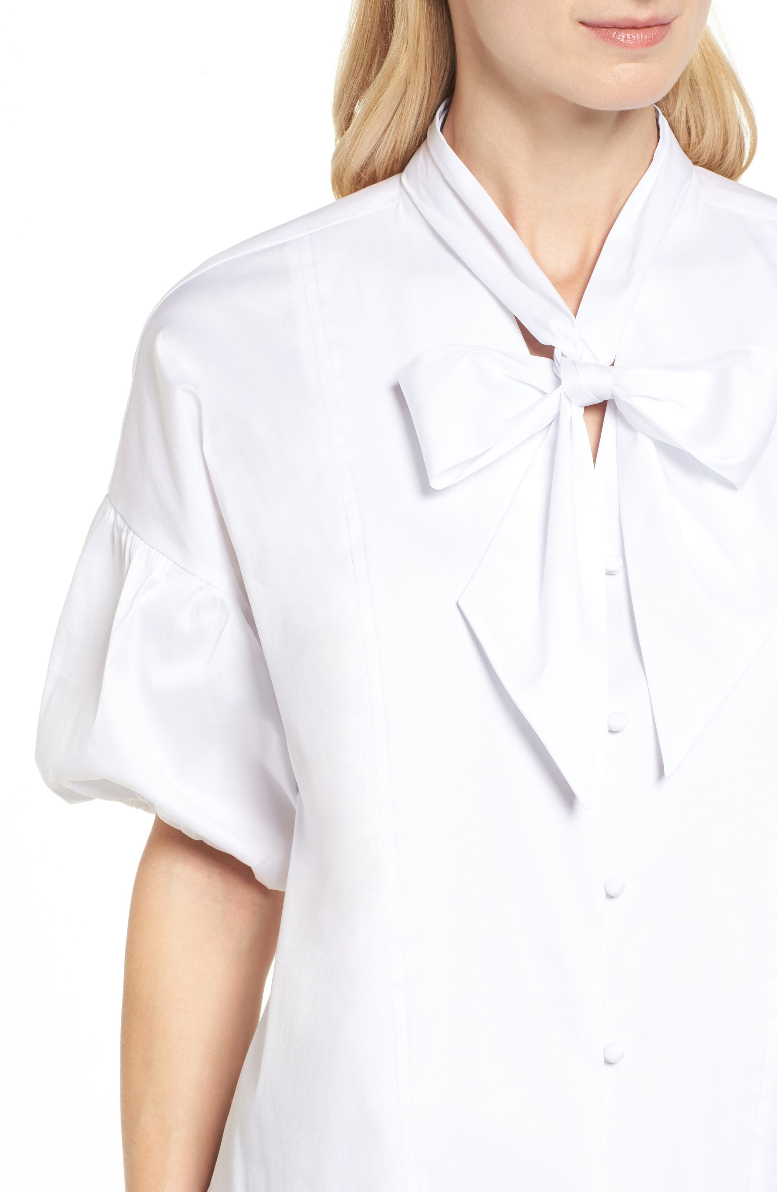 Tie Front Short Sleeve Blouse,                             Alternate thumbnail 4, color,                             100