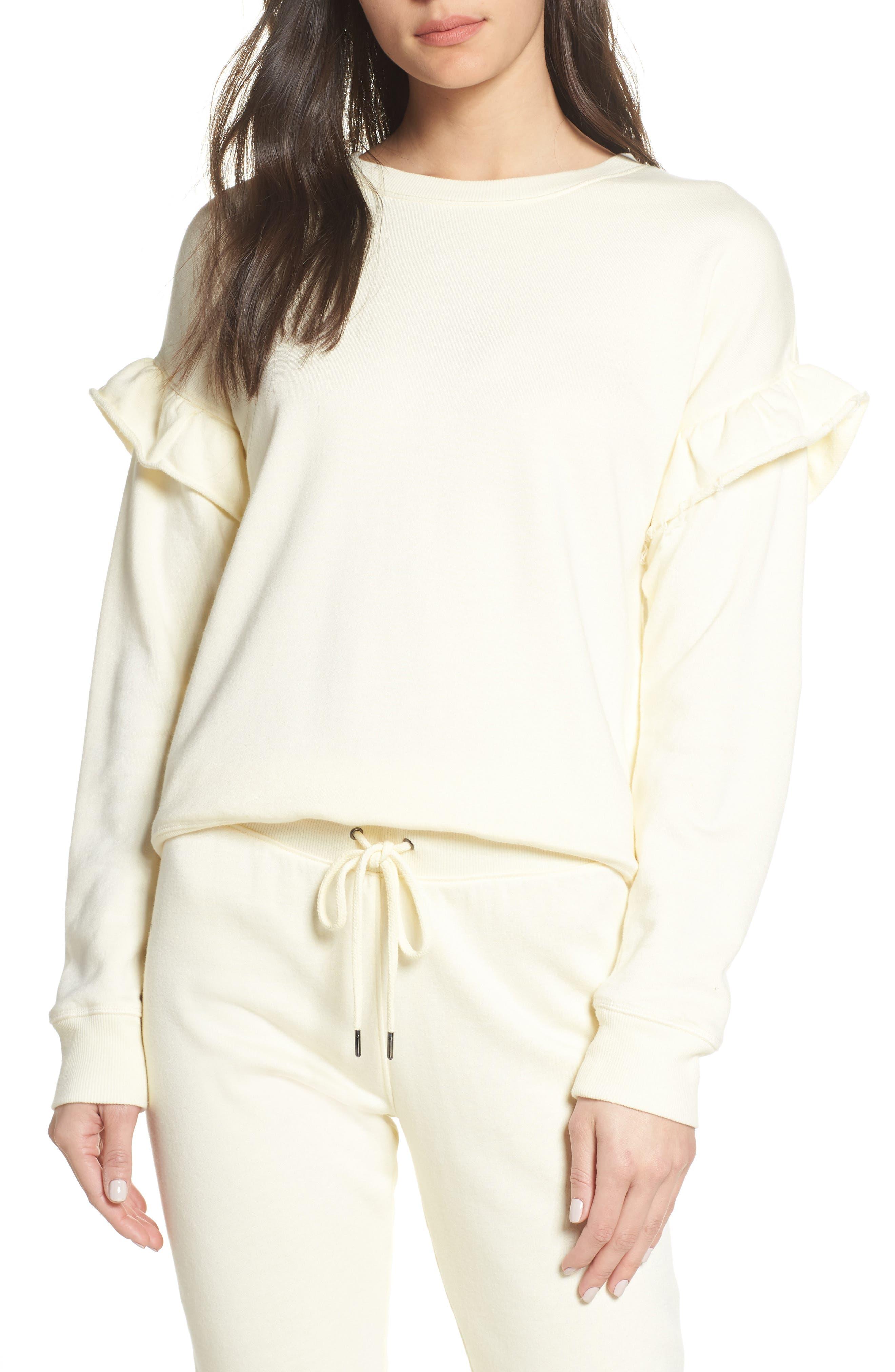 Ruffle Sweatshirt, Main, color, SUNSHINE
