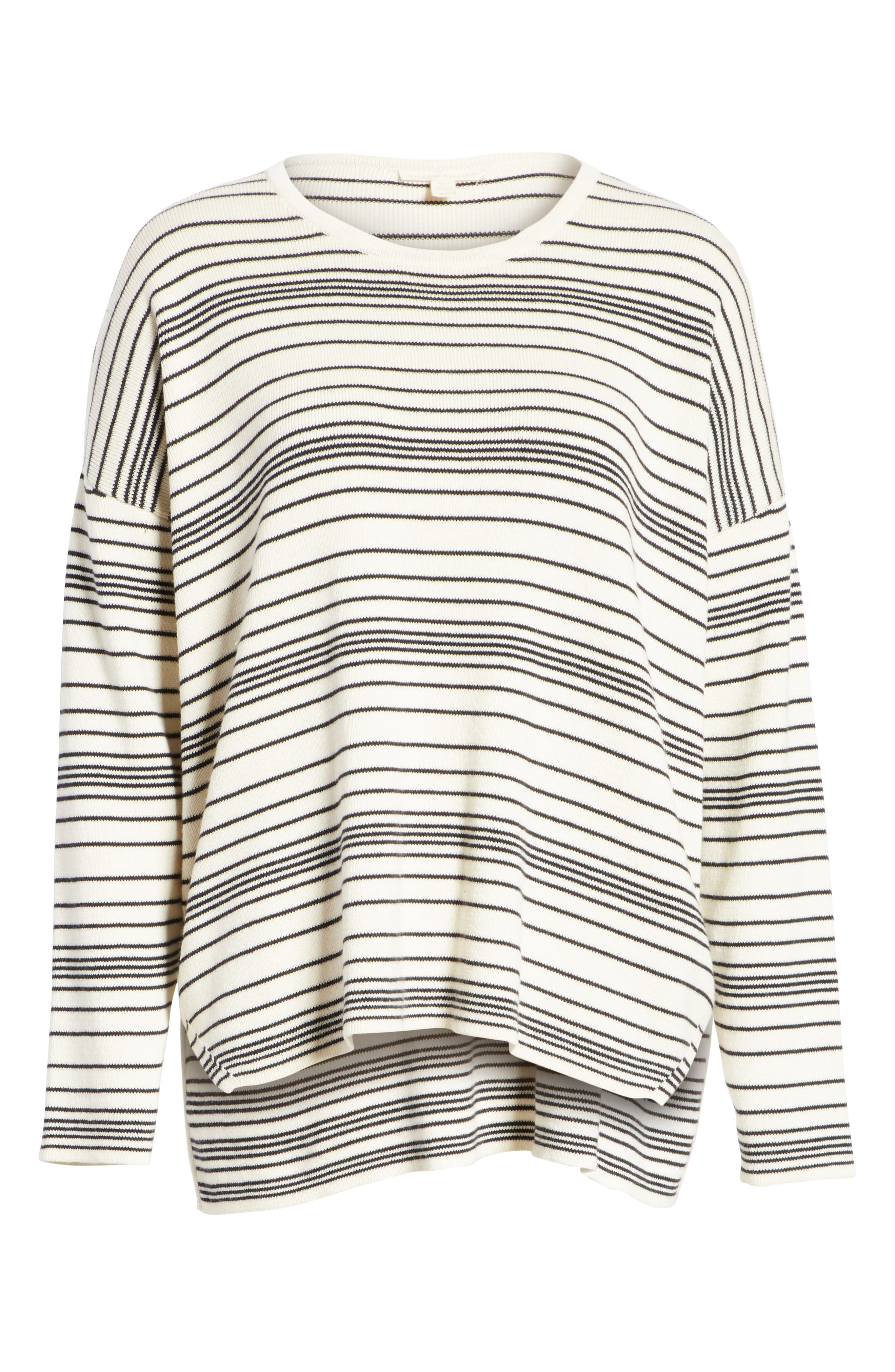 Stripe Organic Cotton Sweater,                             Alternate thumbnail 6, color,                             SOFT WHITE/ BLACK