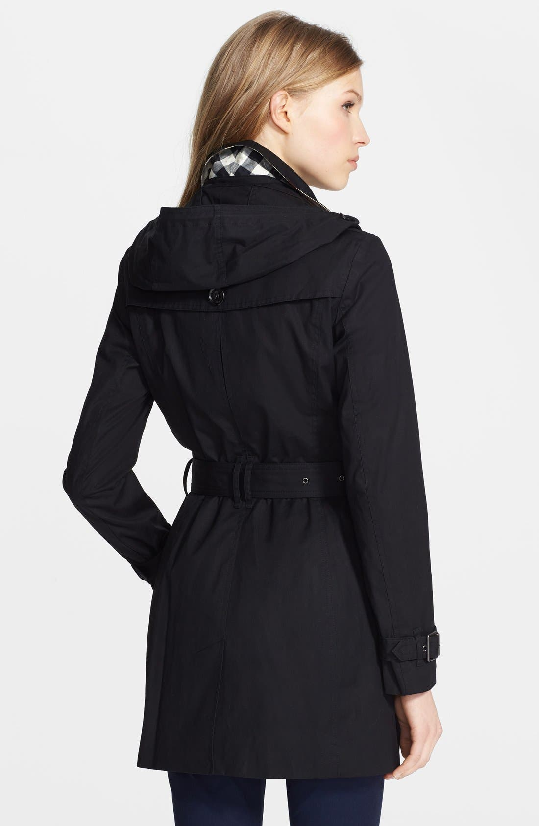 'Reymoore' Trench Coat with Detachable Hood,                             Alternate thumbnail 4, color,                             001