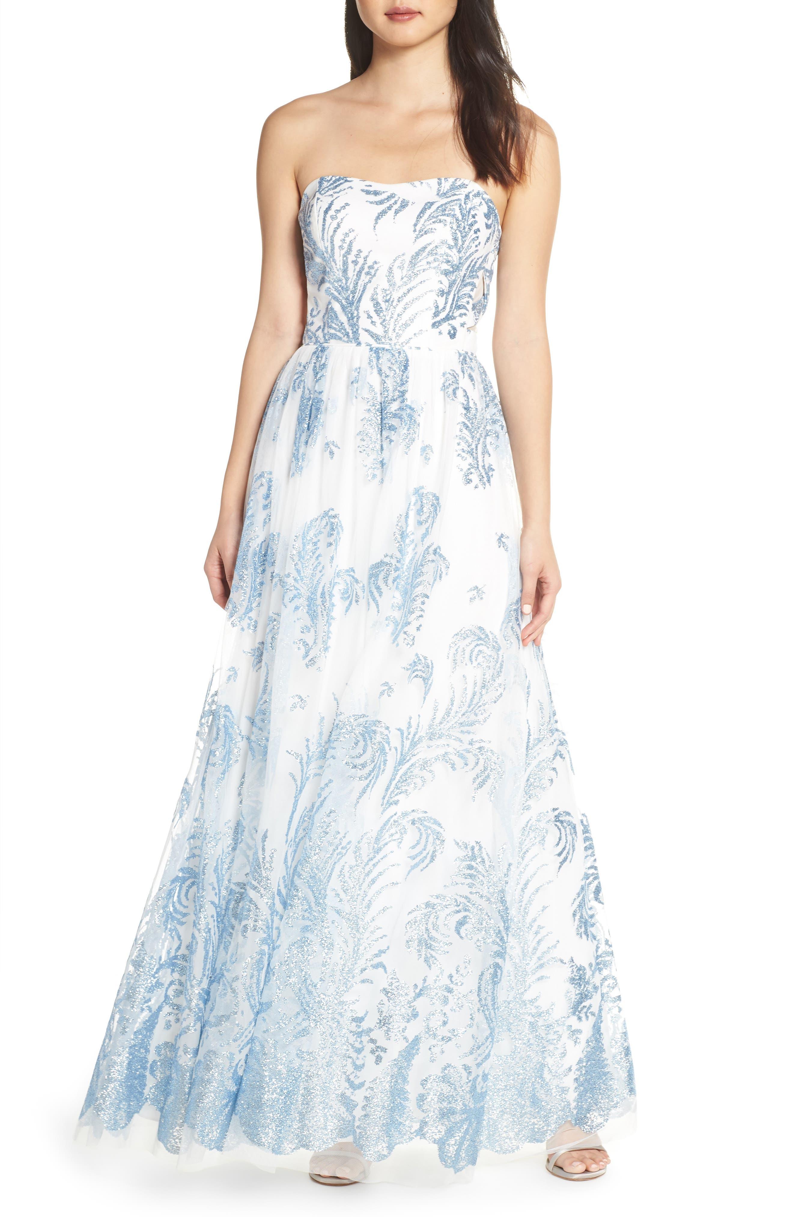 Strapless Glitter Mesh Evening Dress,                             Main thumbnail 1, color,                             IVORY/ BLUE
