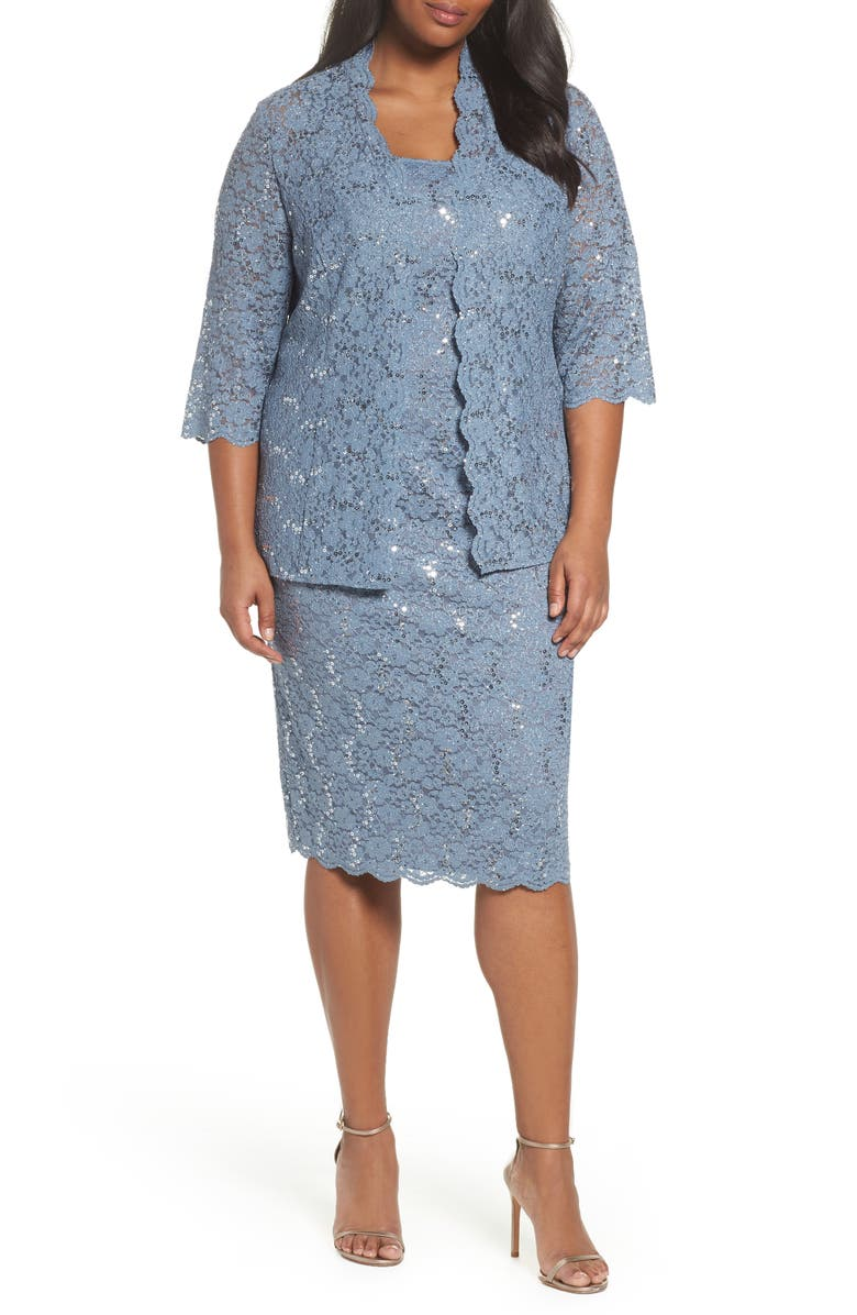 6d5e2057488 Alex Evenings Sequin Lace Jacket Dress (Plus Size)