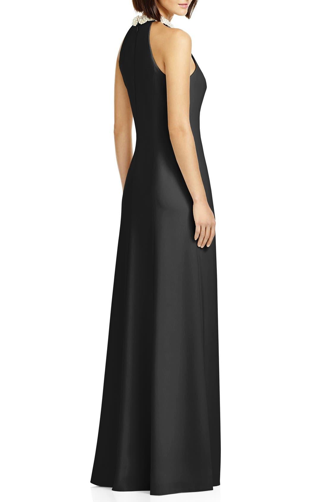 Beaded Halter Neck Crepe Gown,                             Alternate thumbnail 3, color,