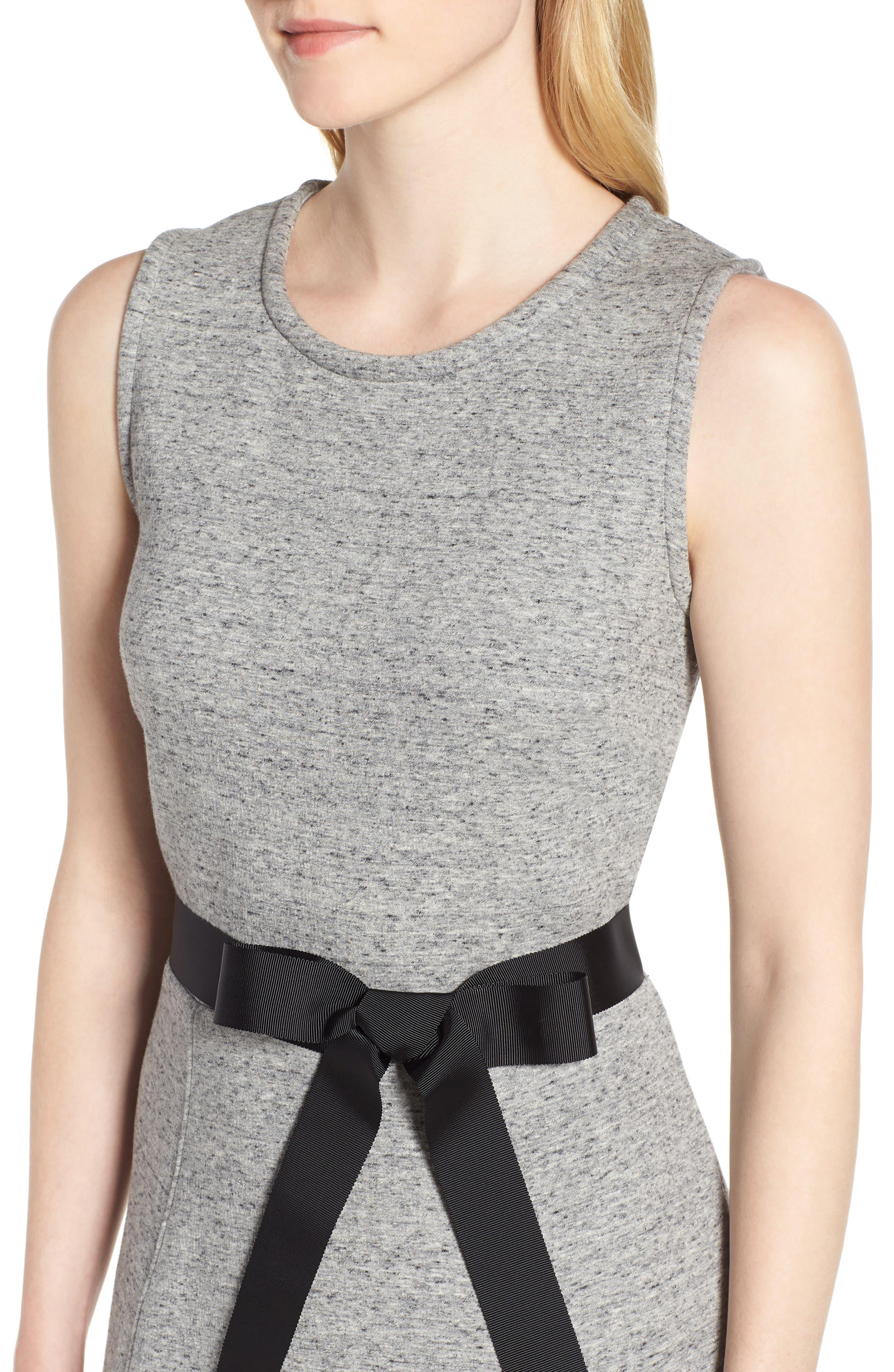 Velvet Tie A-Line Dress,                             Alternate thumbnail 4, color,                             020