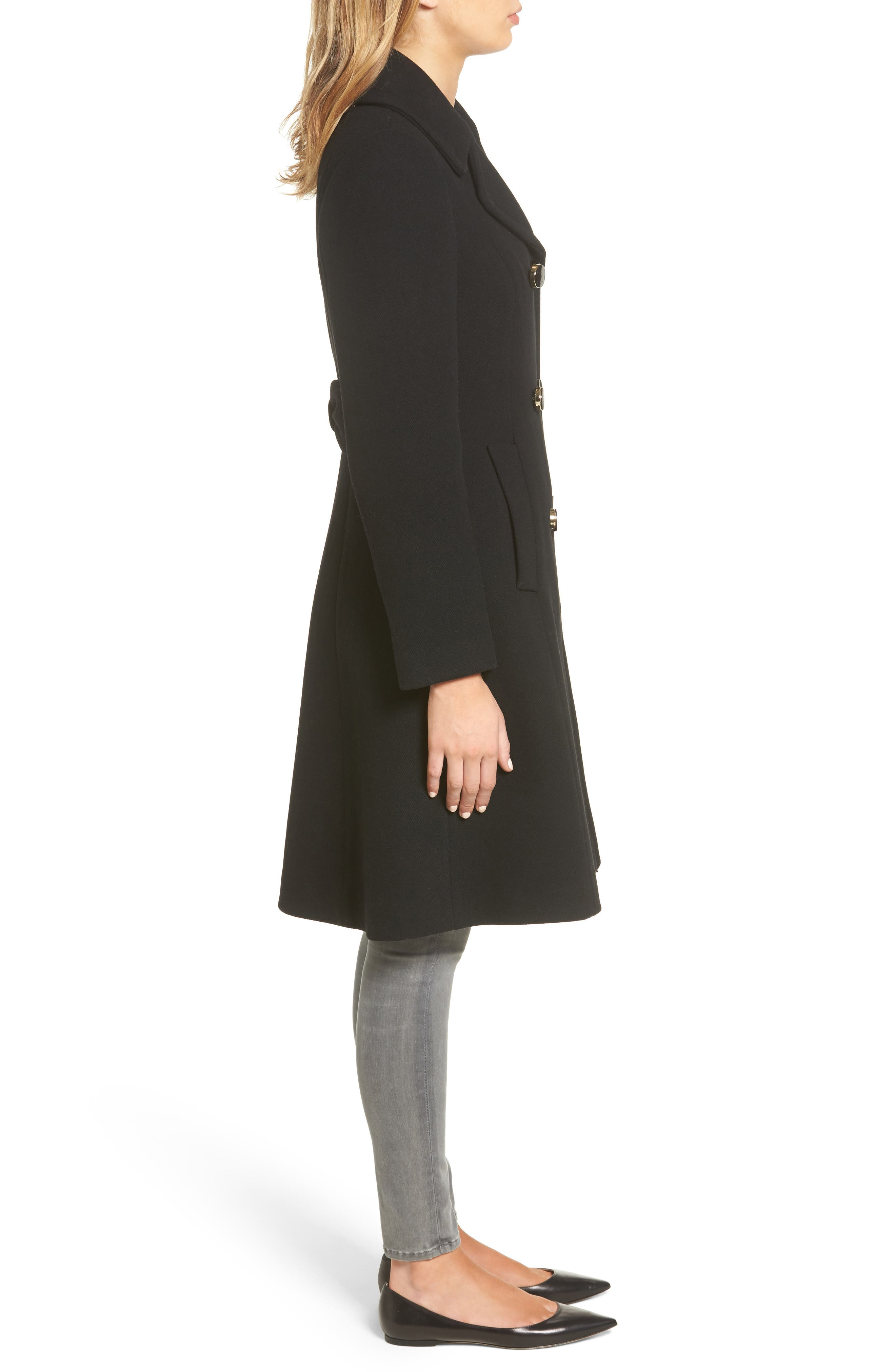 twill fit & flare coat,                             Alternate thumbnail 3, color,                             001
