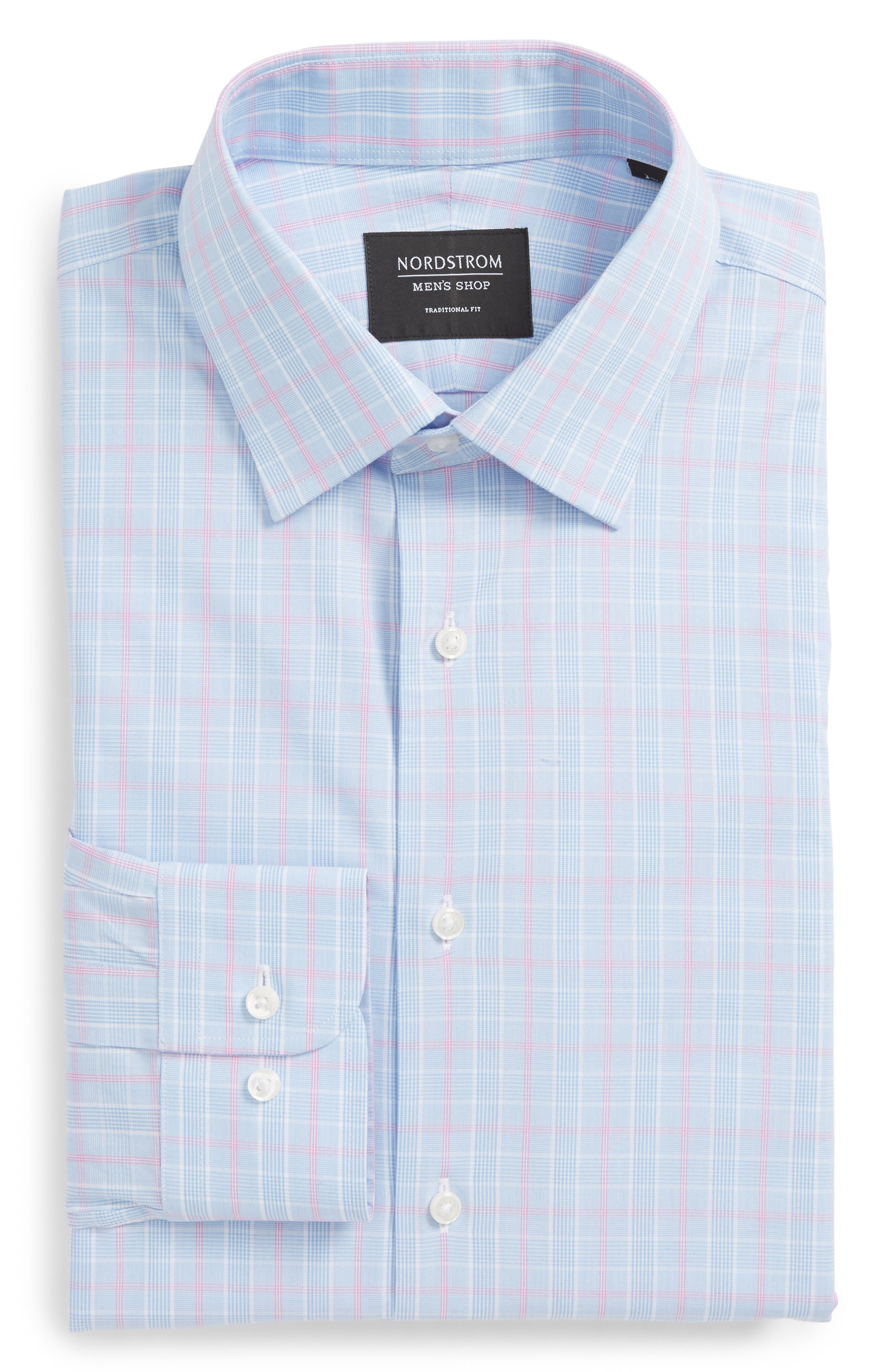 Traditional Fit Plaid Dress Shirt,                             Alternate thumbnail 5, color,                             450