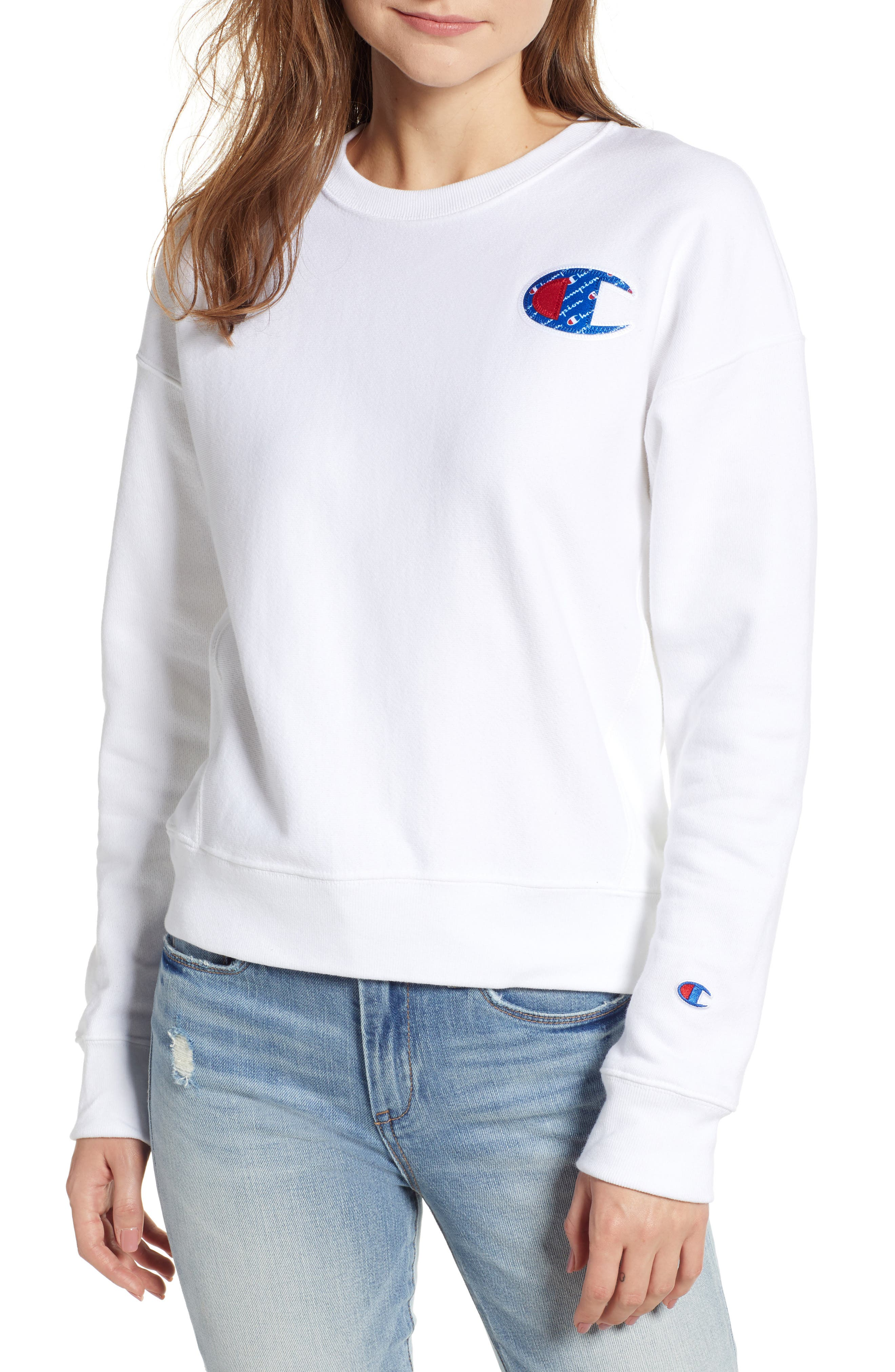 Sublimated Logo Sweatshirt,                             Main thumbnail 1, color,                             WHITE