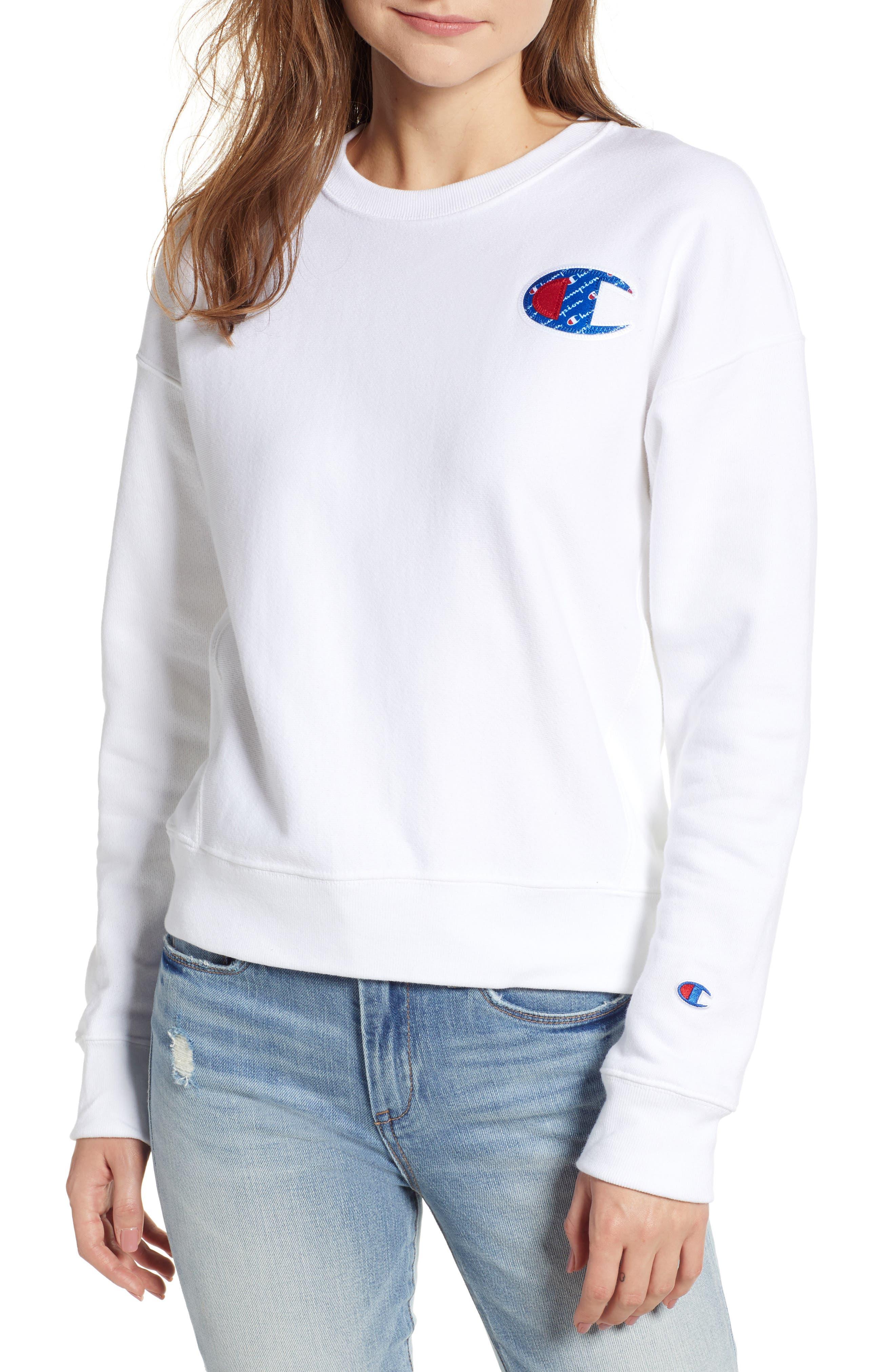 Sublimated Logo Sweatshirt,                         Main,                         color, WHITE