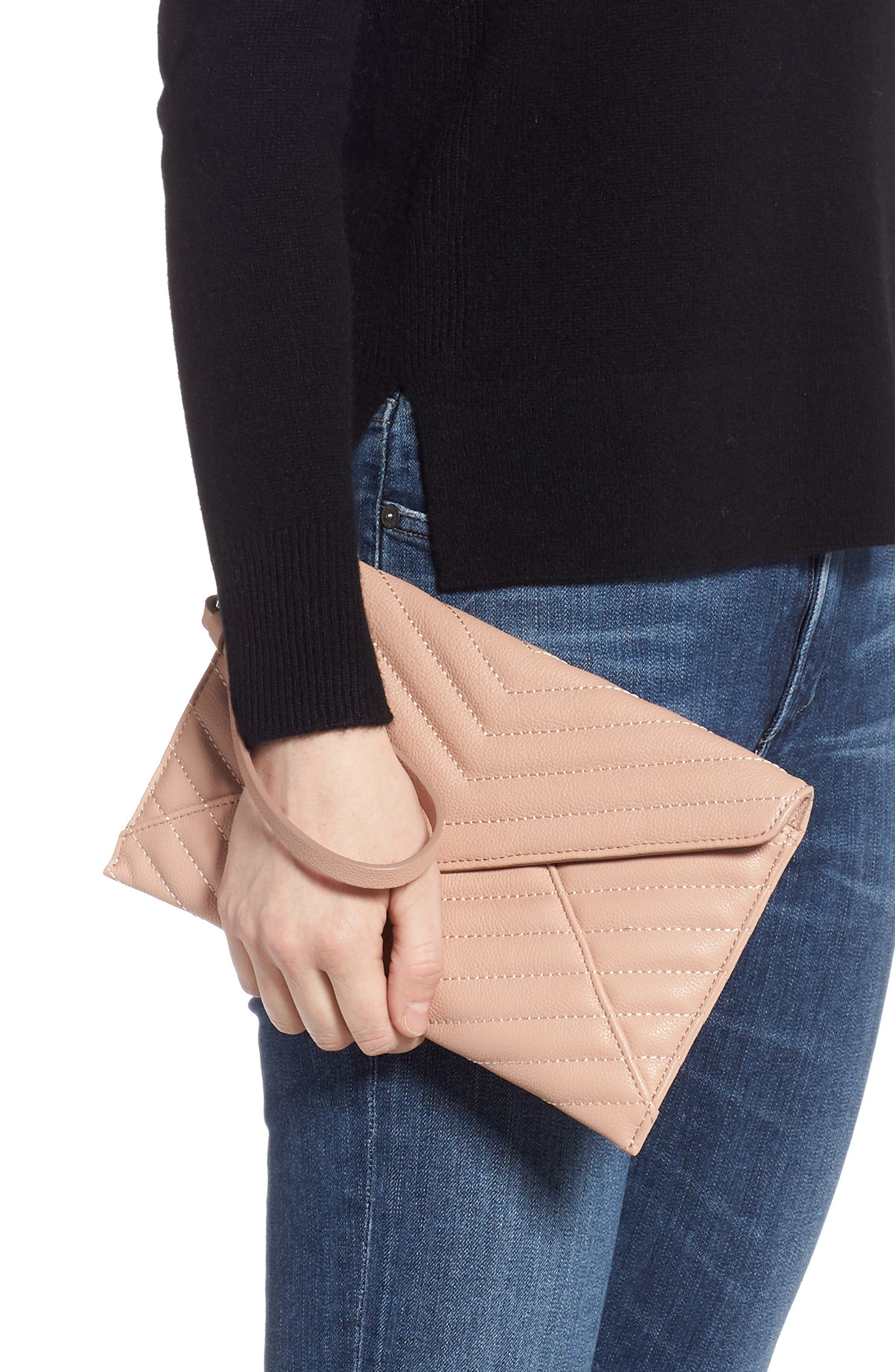 REBECCA MINKOFF,                             Leo Quilted Leather Clutch,                             Alternate thumbnail 2, color,                             DOE