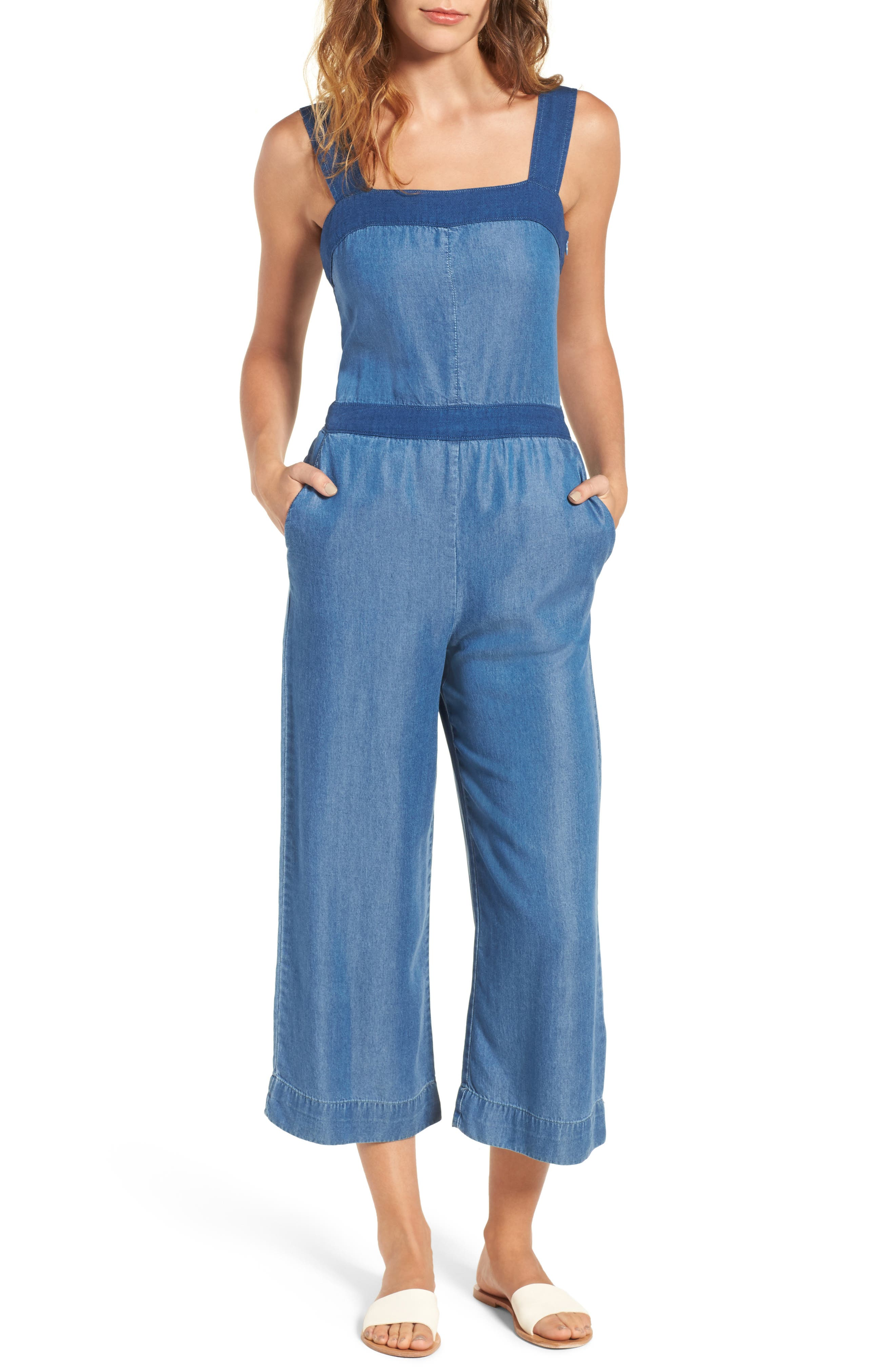 Chambray Culotte Jumpsuit,                         Main,                         color, 466