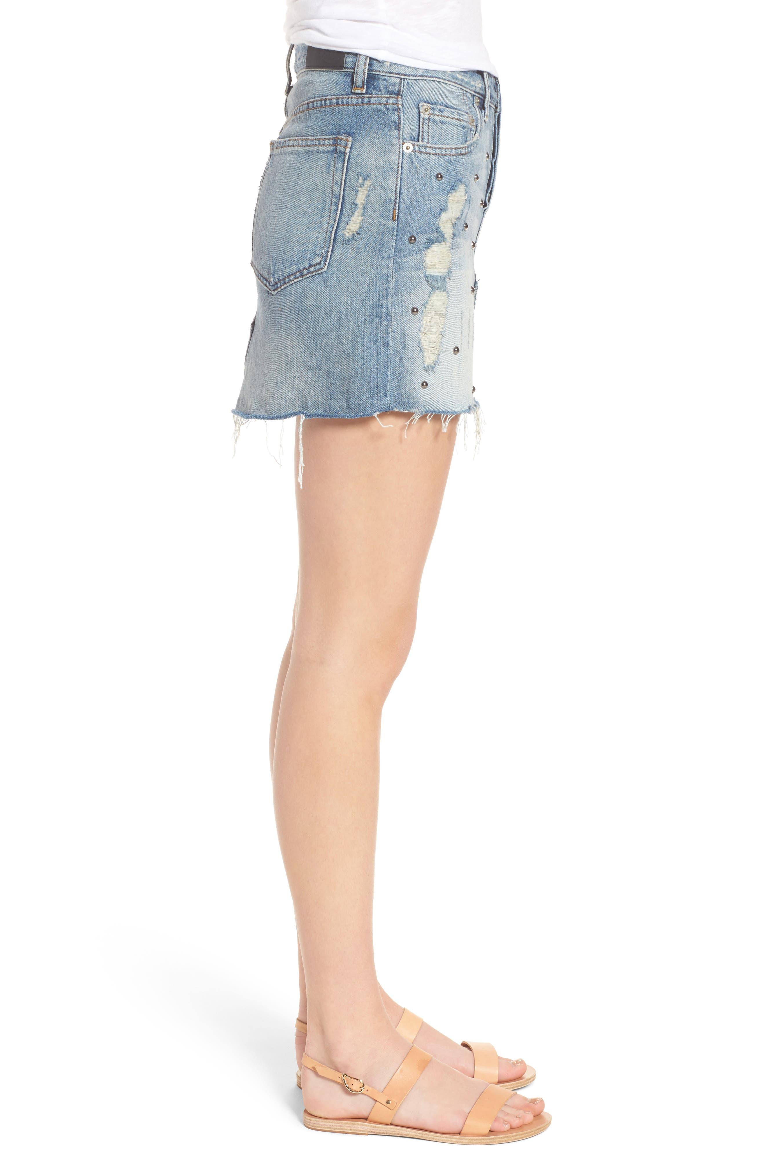 Wynonna Studded Cutoff Denim Miniskirt,                             Alternate thumbnail 3, color,                             MED VINTAGE ALL OVER STUDDED