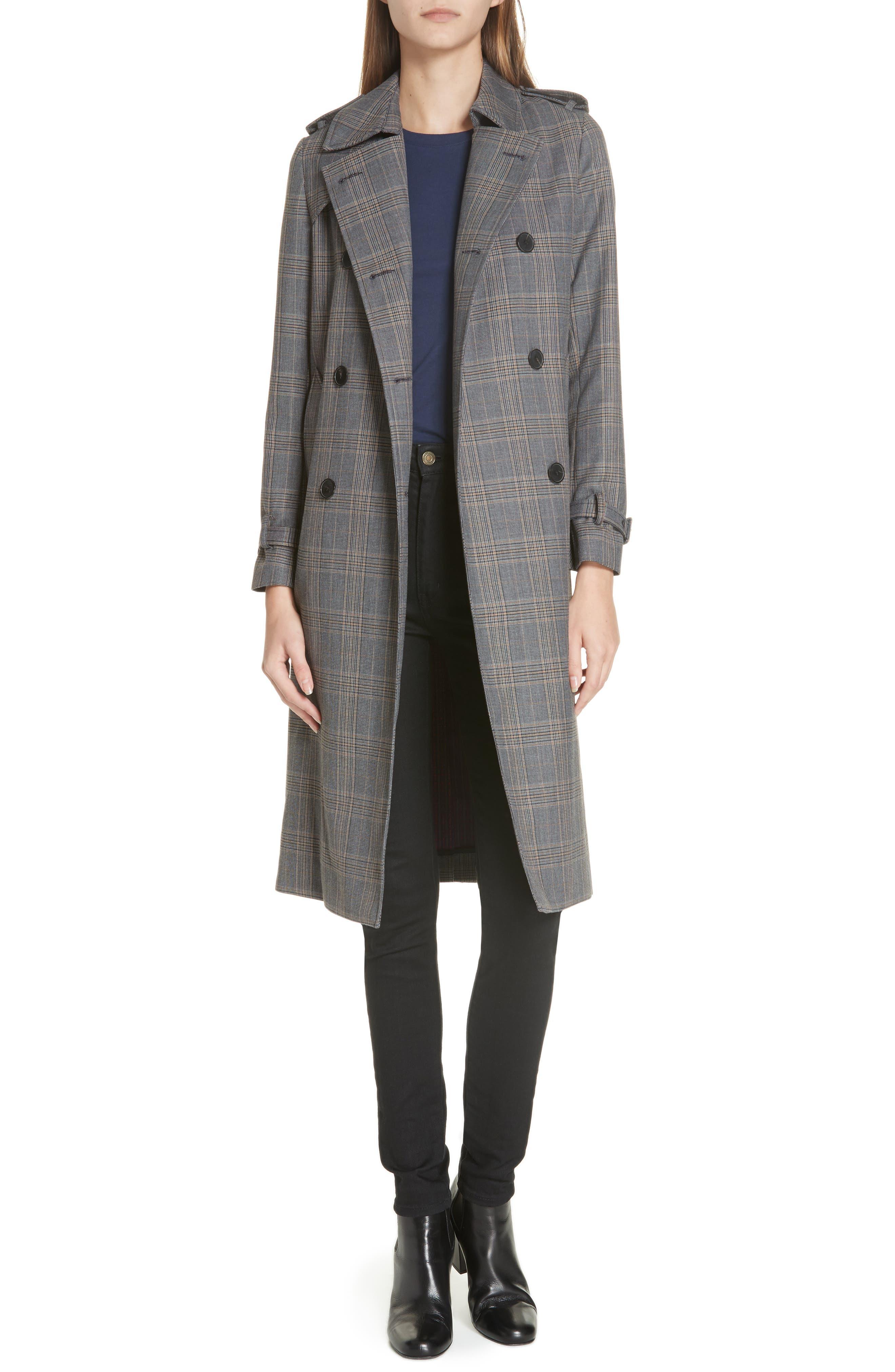 Long Plaid Coat,                         Main,                         color, 033