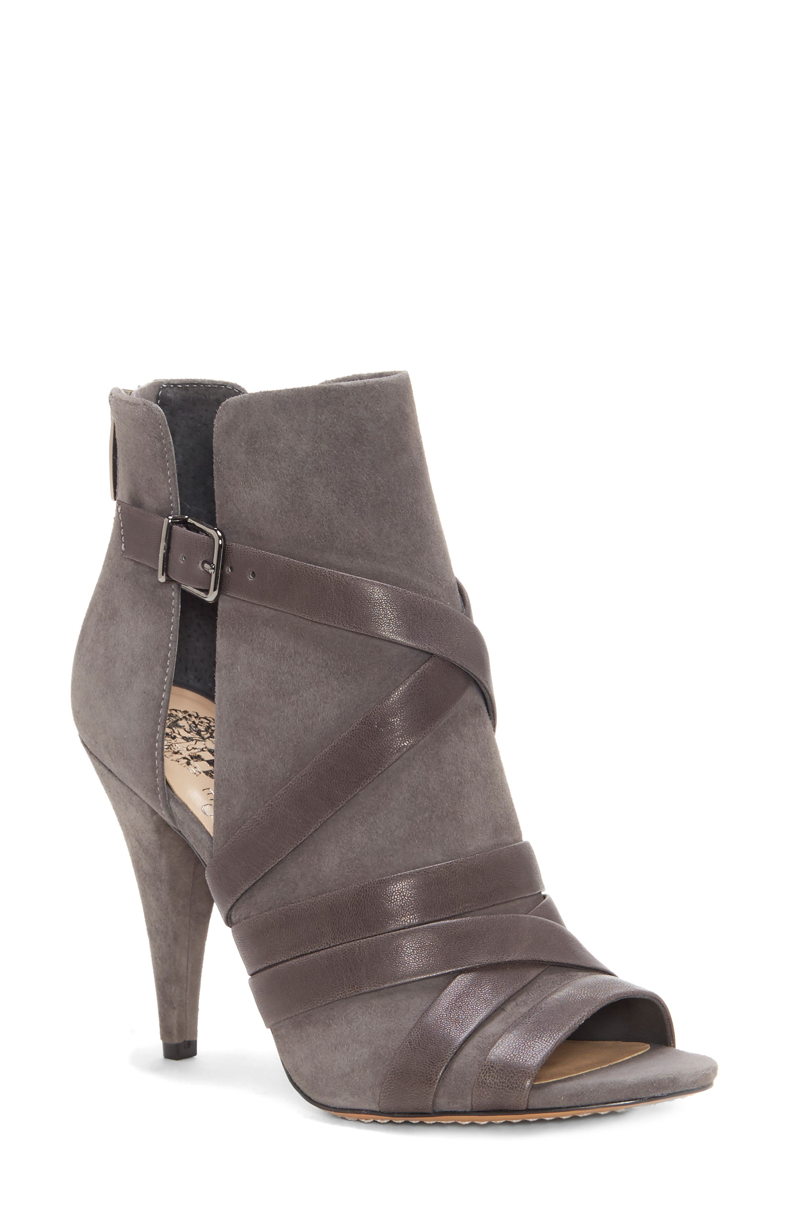 Achika Belted Peep Toe Bootie,                         Main,                         color, POWER GREY LEATHER