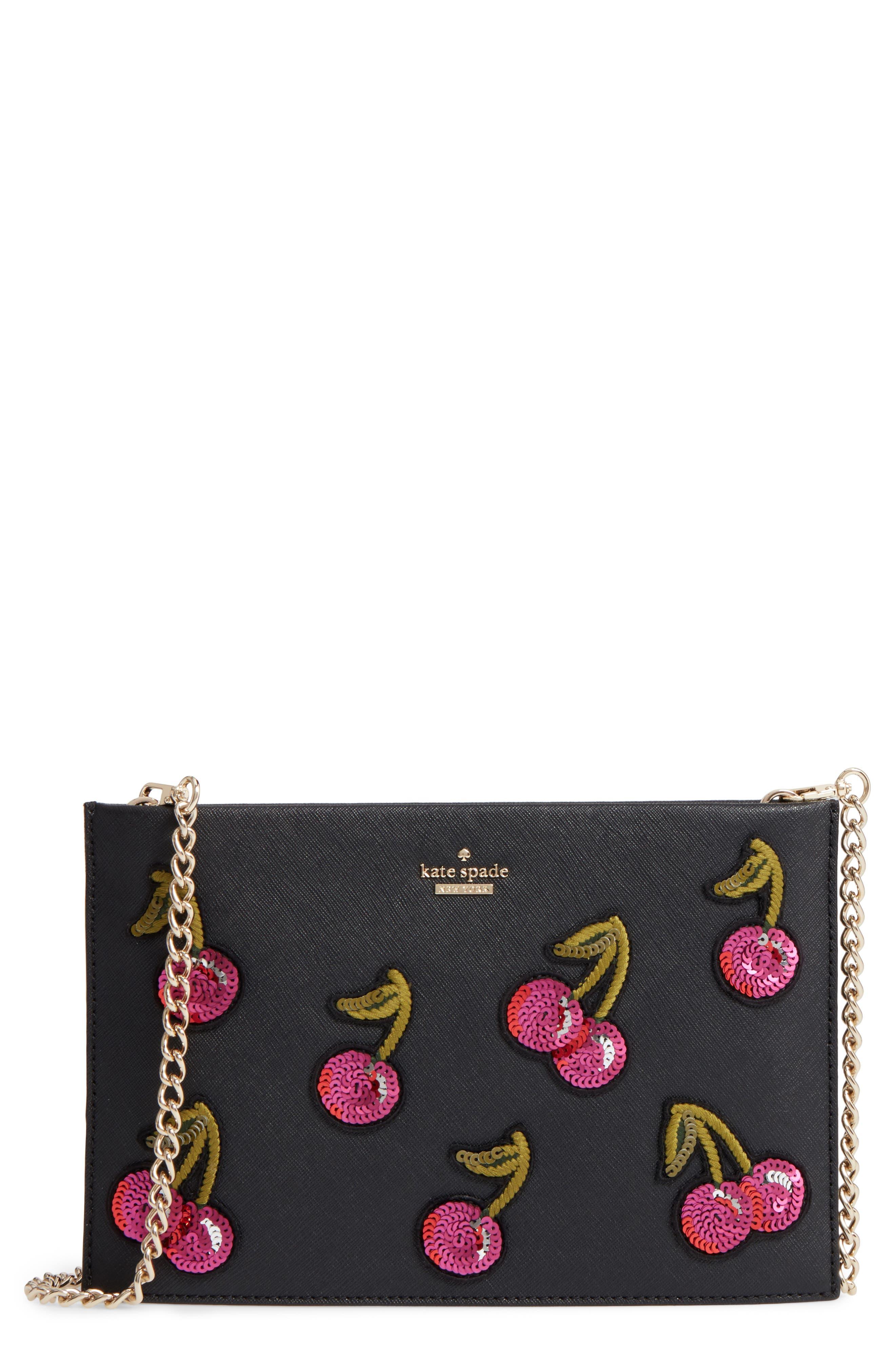 ma cherie - cherries sima leather shoulder bag,                         Main,                         color, 001