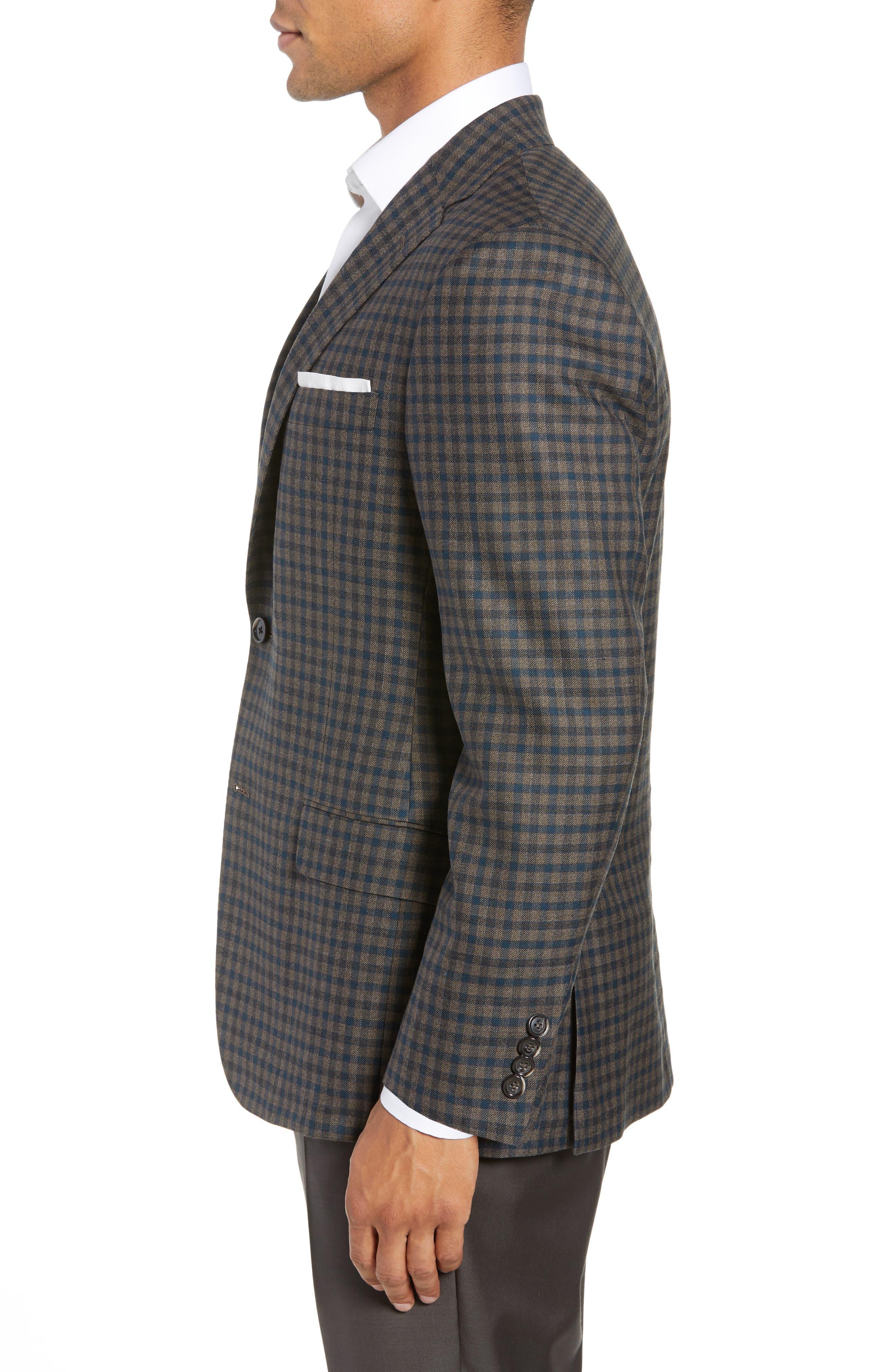 Classic B-Fit Check Wool Sport Coat,                             Alternate thumbnail 3, color,                             MEDIUM BROWN