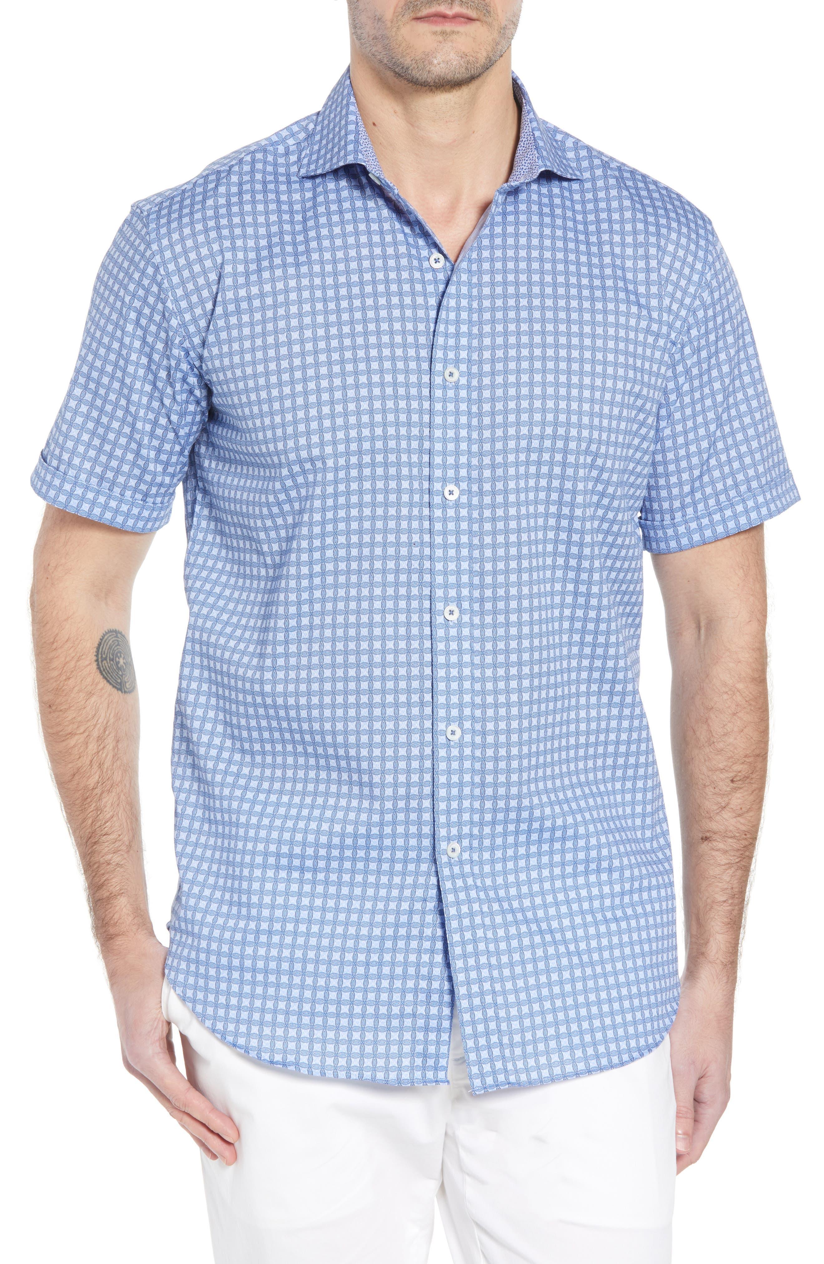 Bugatchi Shaped Fit Print Sport Shirt, Blue