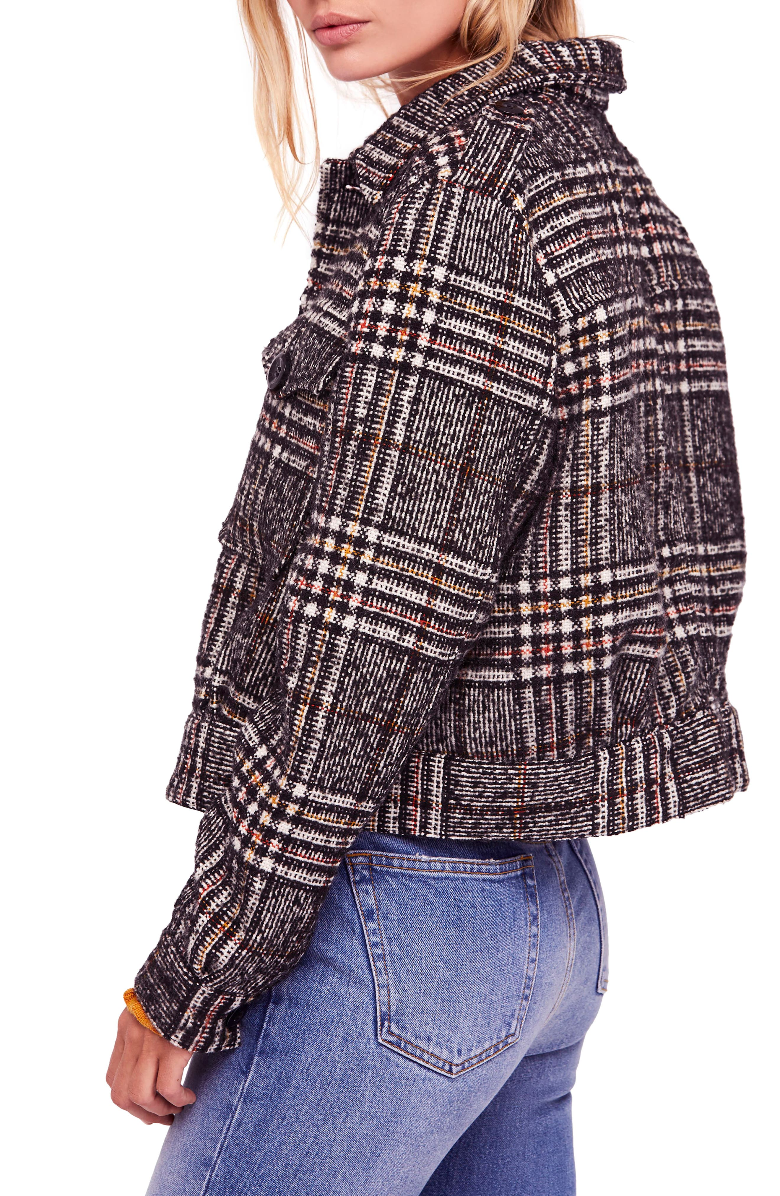 FREE PEOPLE,                             Eisenhower Slouchy Jacket,                             Alternate thumbnail 3, color,                             019