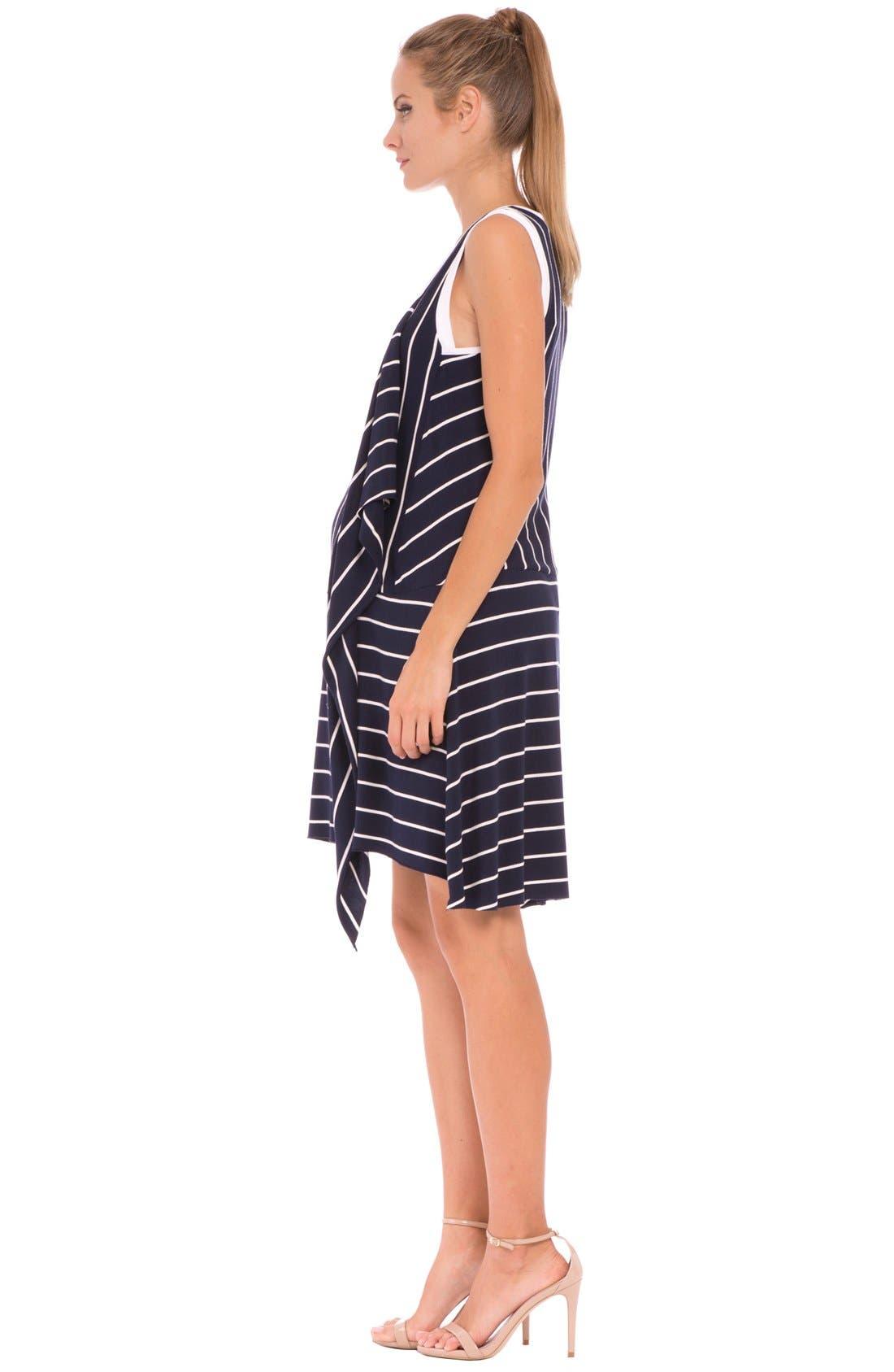 'Krystal' Stripe Ruffle Maternity Dress,                             Alternate thumbnail 2, color,                             415