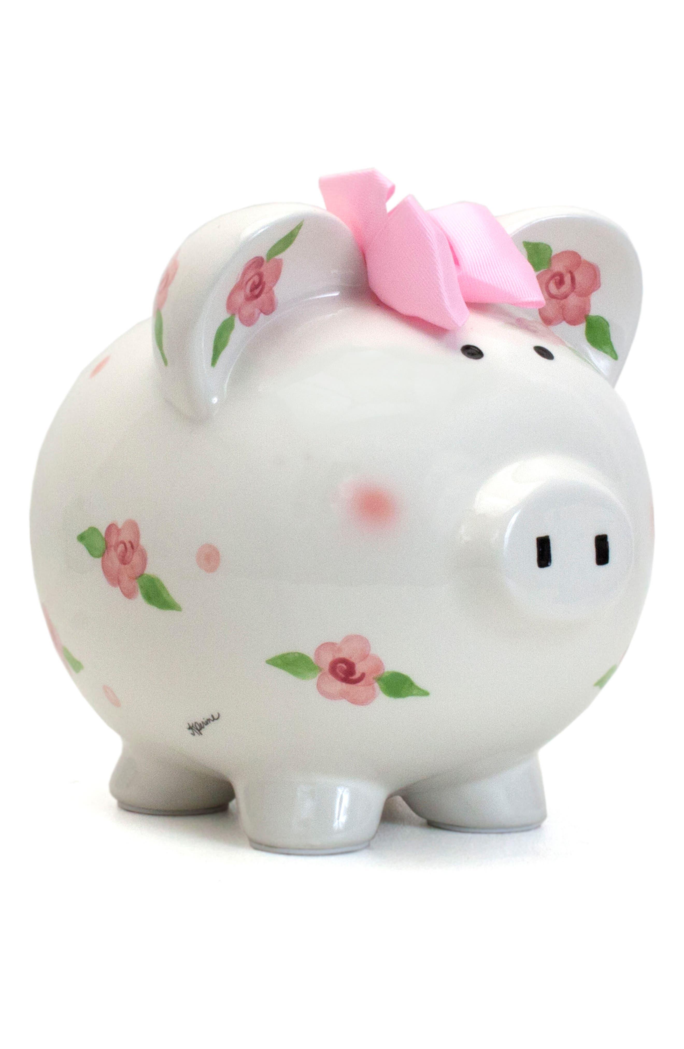 Embellished Piggy Bank,                             Main thumbnail 1, color,                             WHITE