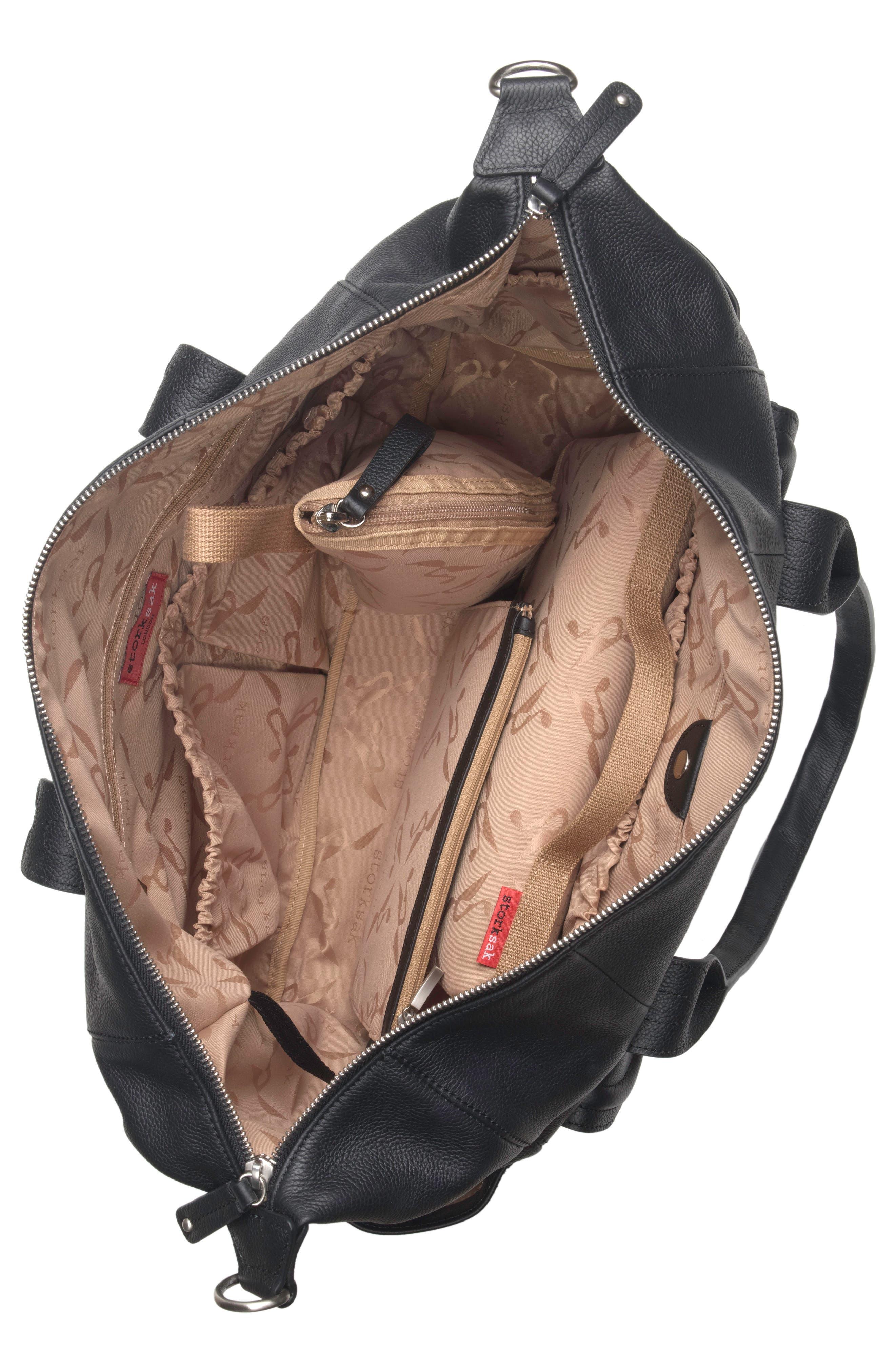 Storsak Leather Diaper Bag,                             Alternate thumbnail 6, color,                             BLACK