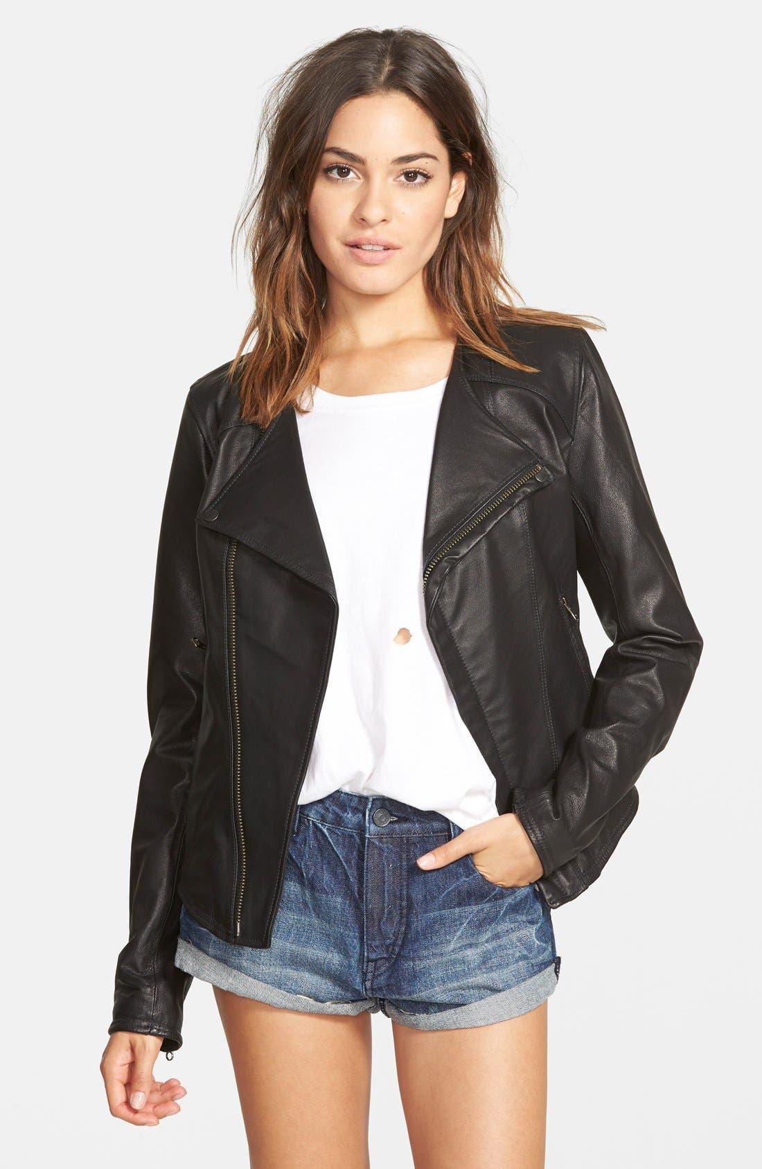 VOLCOM 'Stone Row' Moto Leather Jacket, Main, color, 001