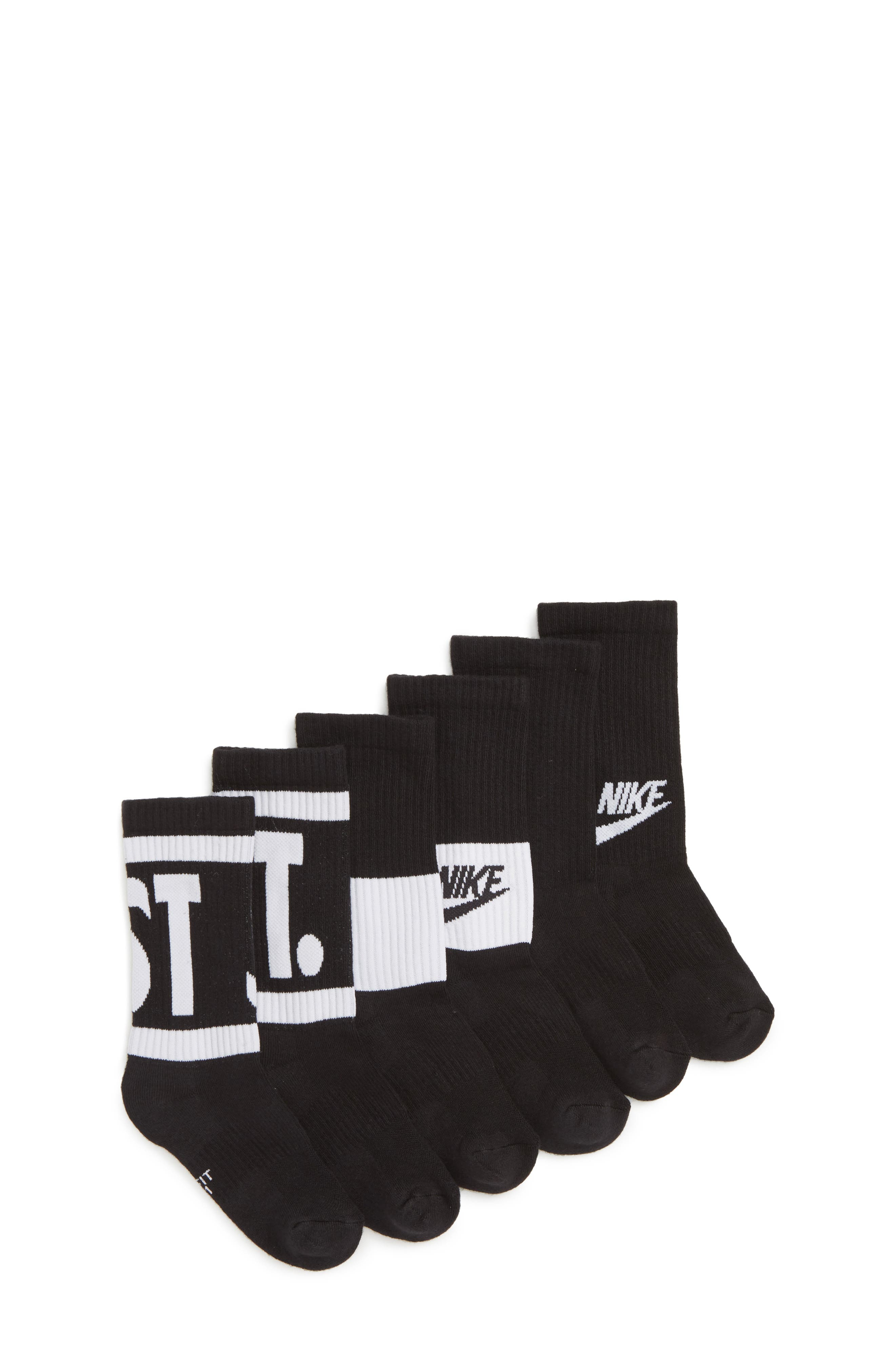 3-Pack Performance Cushioned Crew Socks,                         Main,                         color, BLACK/ WHITE