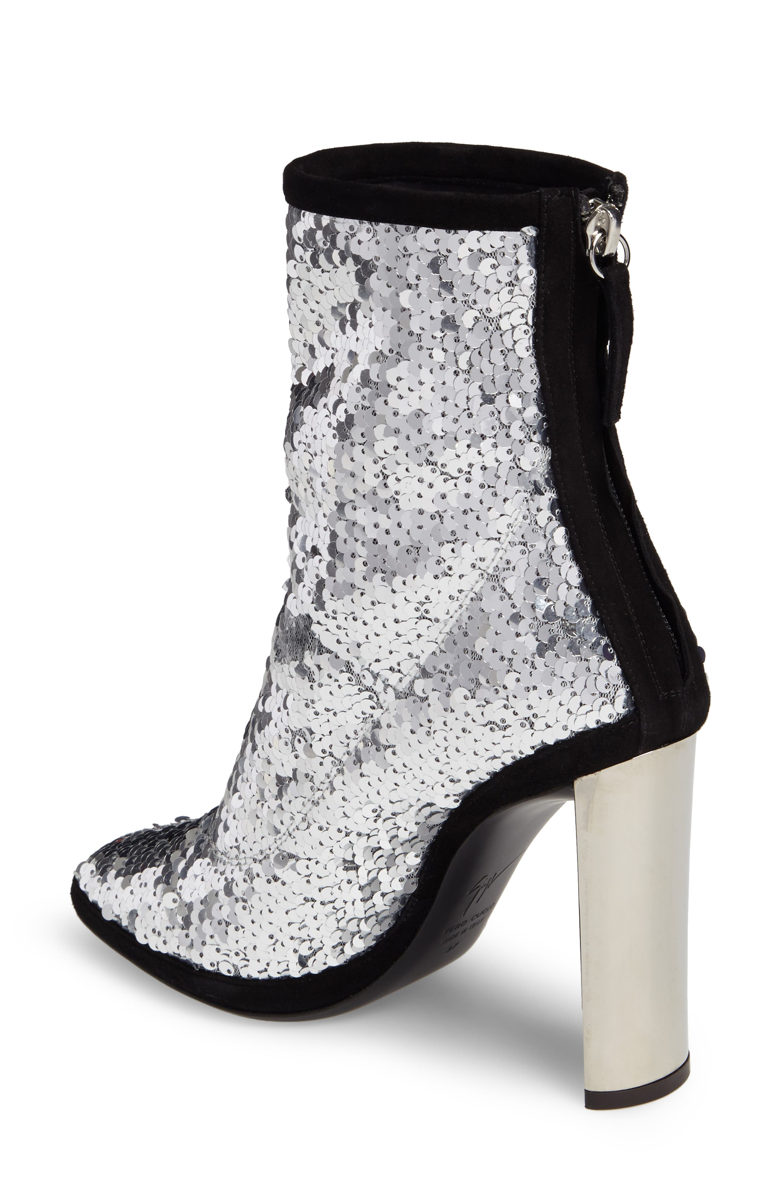 Sequin Curved Heel Bootie,                             Alternate thumbnail 2, color,                             040
