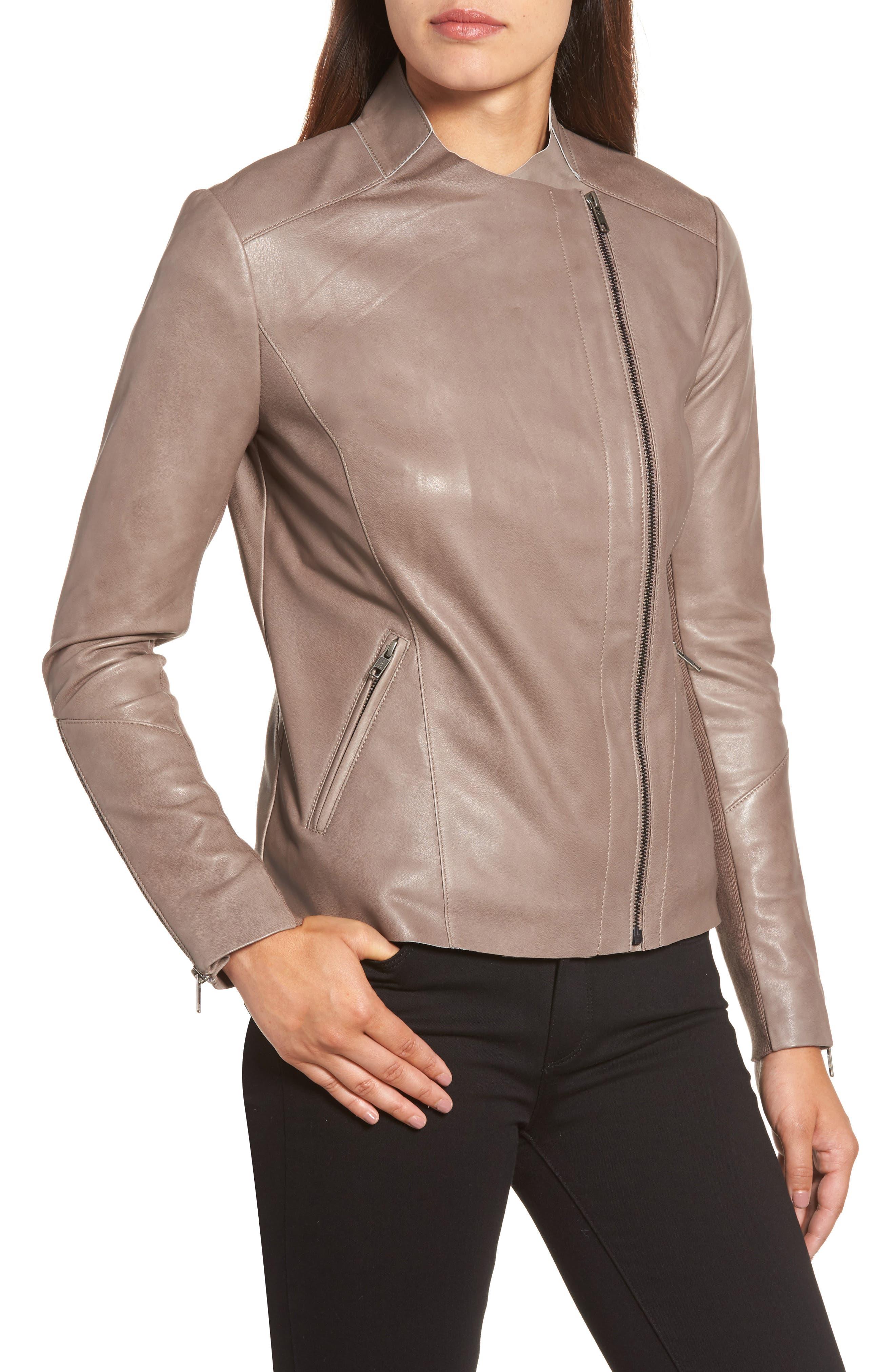 Asymmetrical Leather Jacket,                             Alternate thumbnail 8, color,