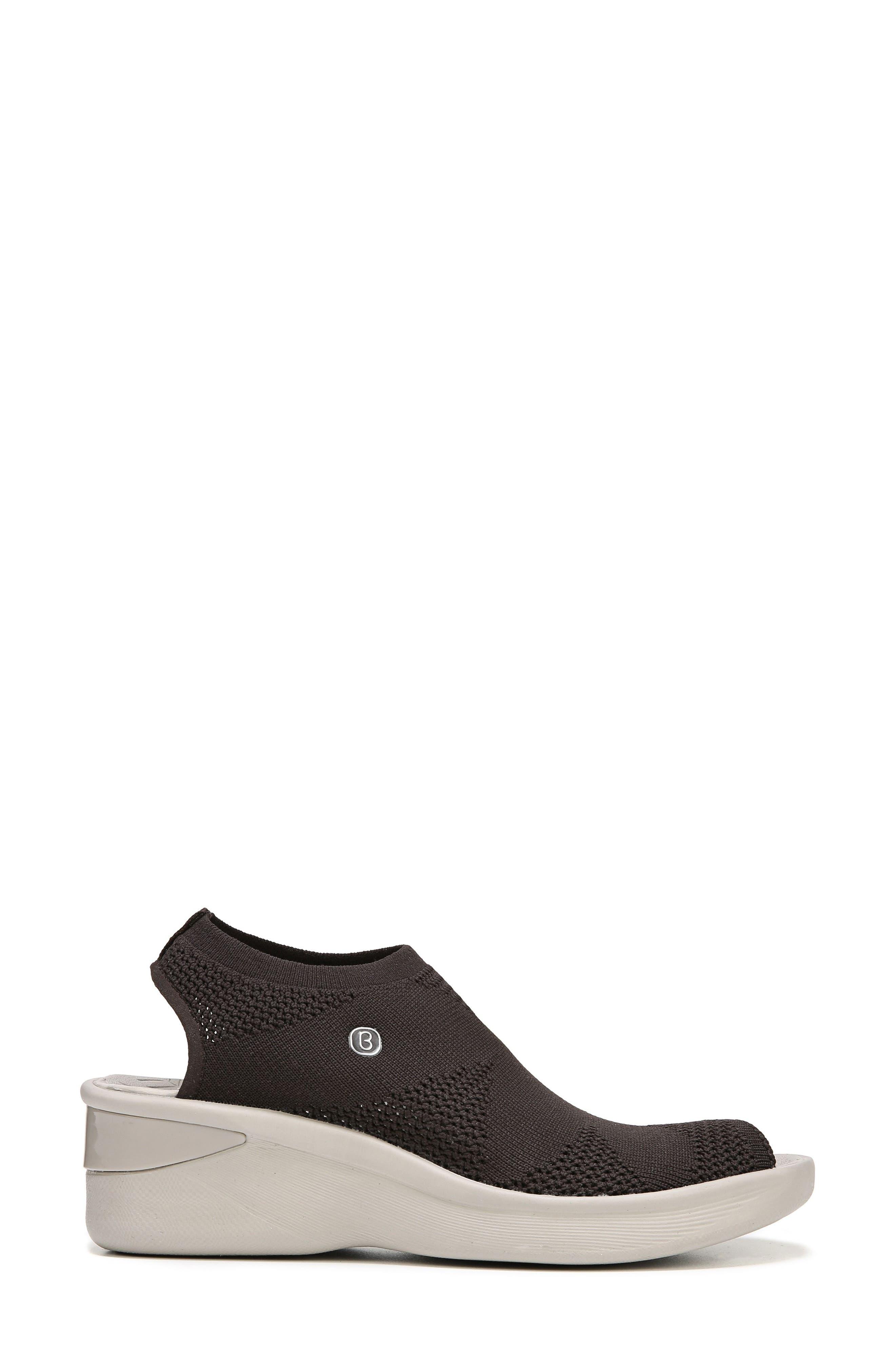 Secret Peep Toe Knit Sneaker,                             Alternate thumbnail 3, color,                             BROWN FABRIC
