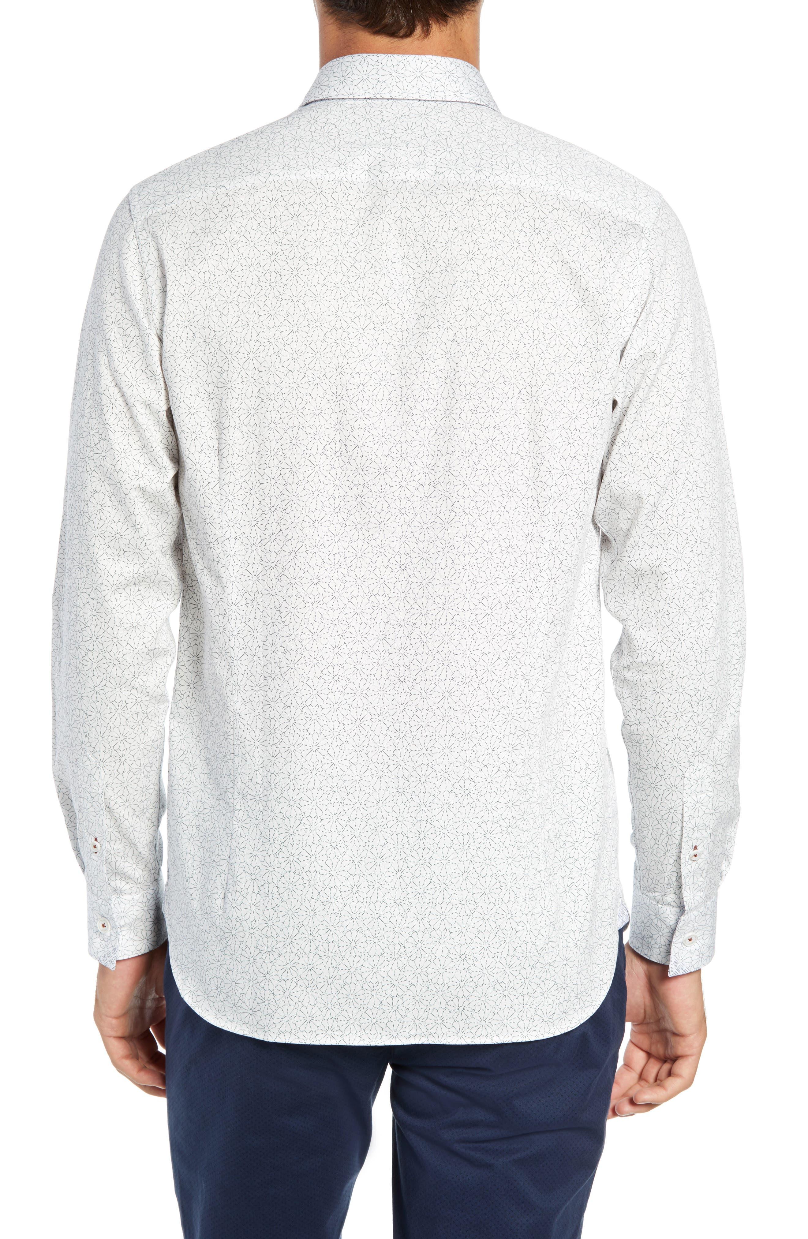 Finsbur Slim Fit Floral Sport Shirt,                             Alternate thumbnail 3, color,                             WHITE