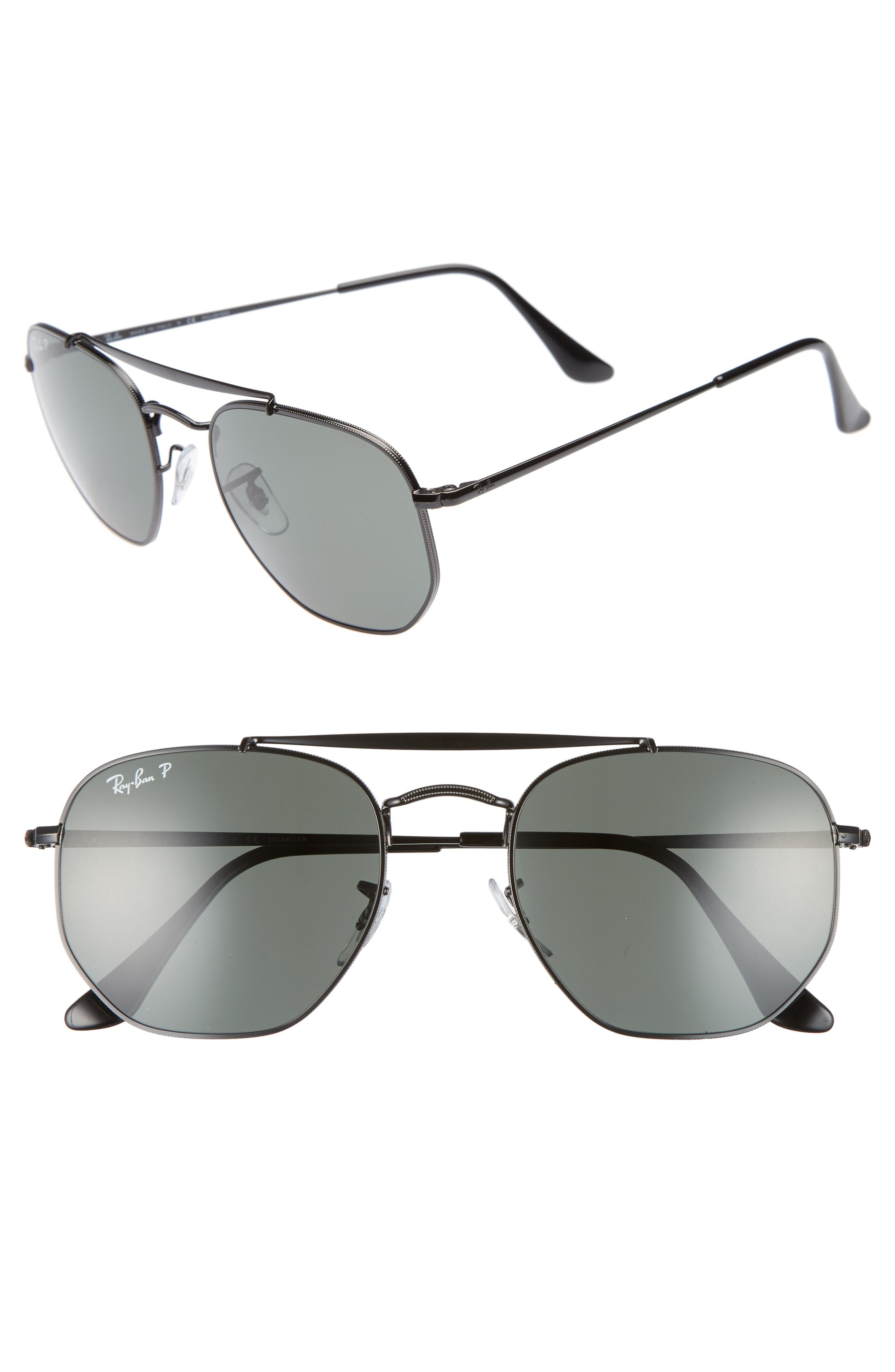 Marshal 54mm Polarized Aviator Sunglasses,                             Main thumbnail 1, color,                             BLACK POLARIZED