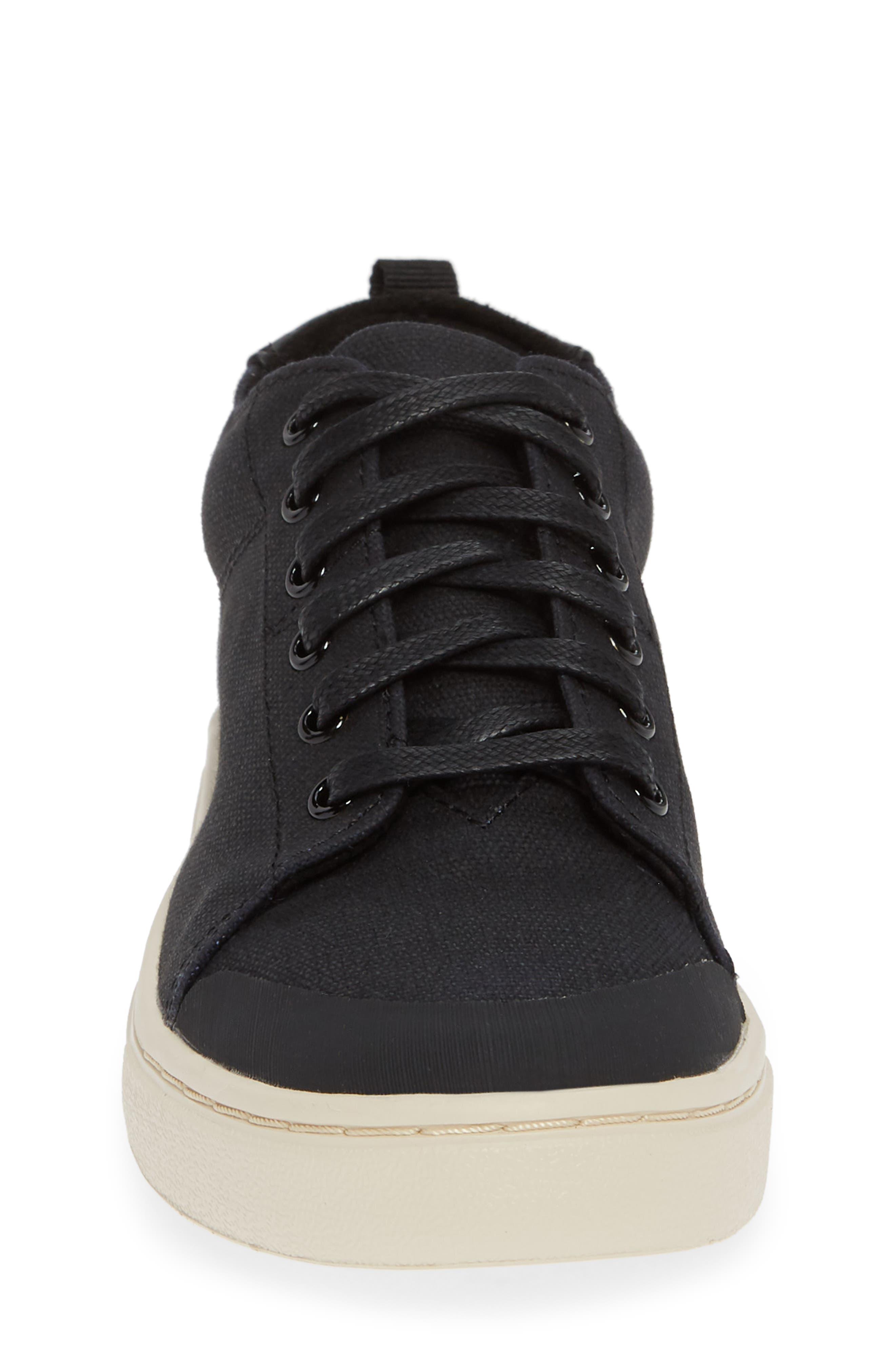 Lenny Mid Top Sneaker,                             Alternate thumbnail 4, color,                             BLACK TEXTURAL CANVAS