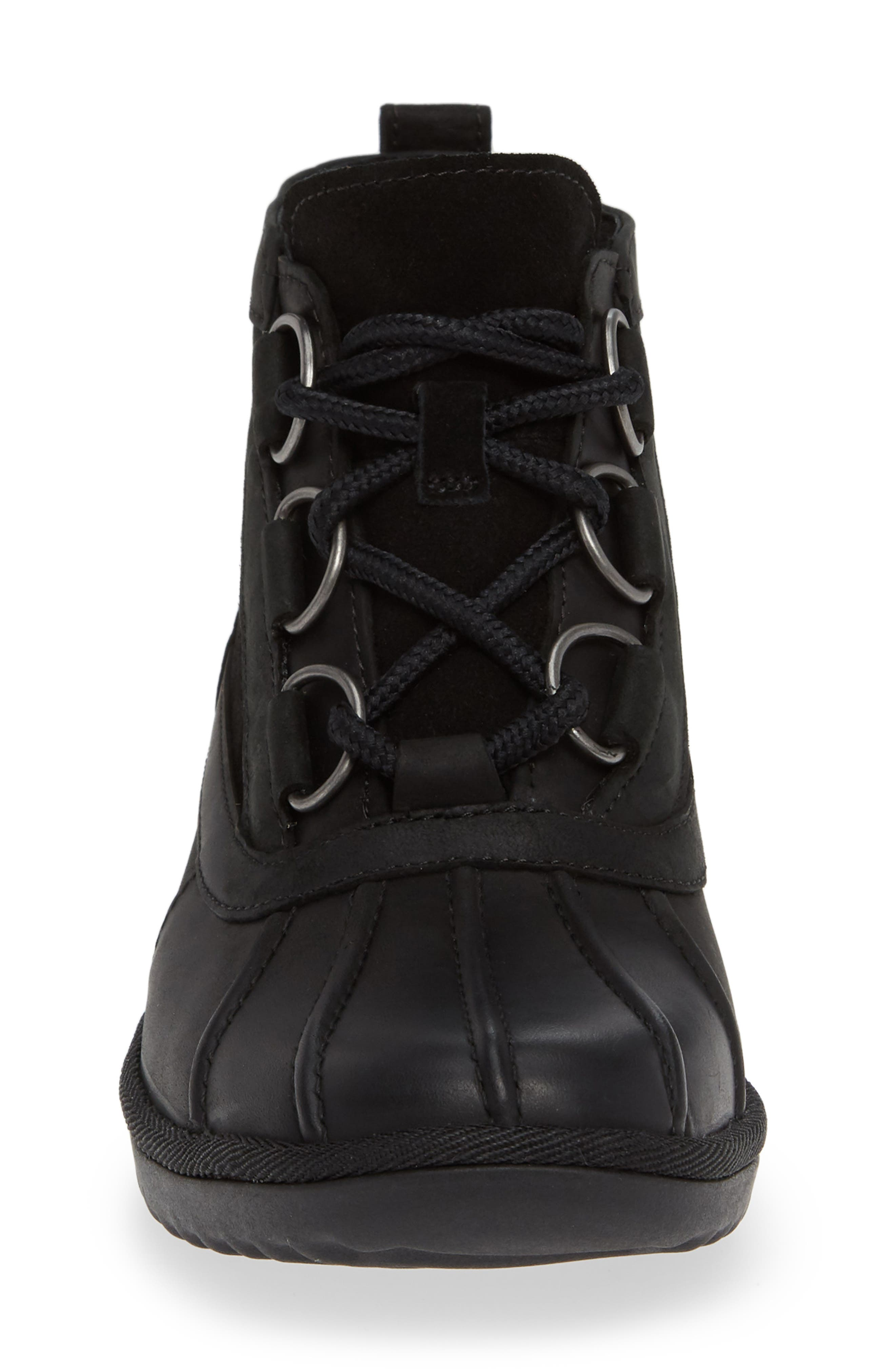 Heather Waterproof Lace-Up Bootie,                             Alternate thumbnail 4, color,                             BLACK LEATHER