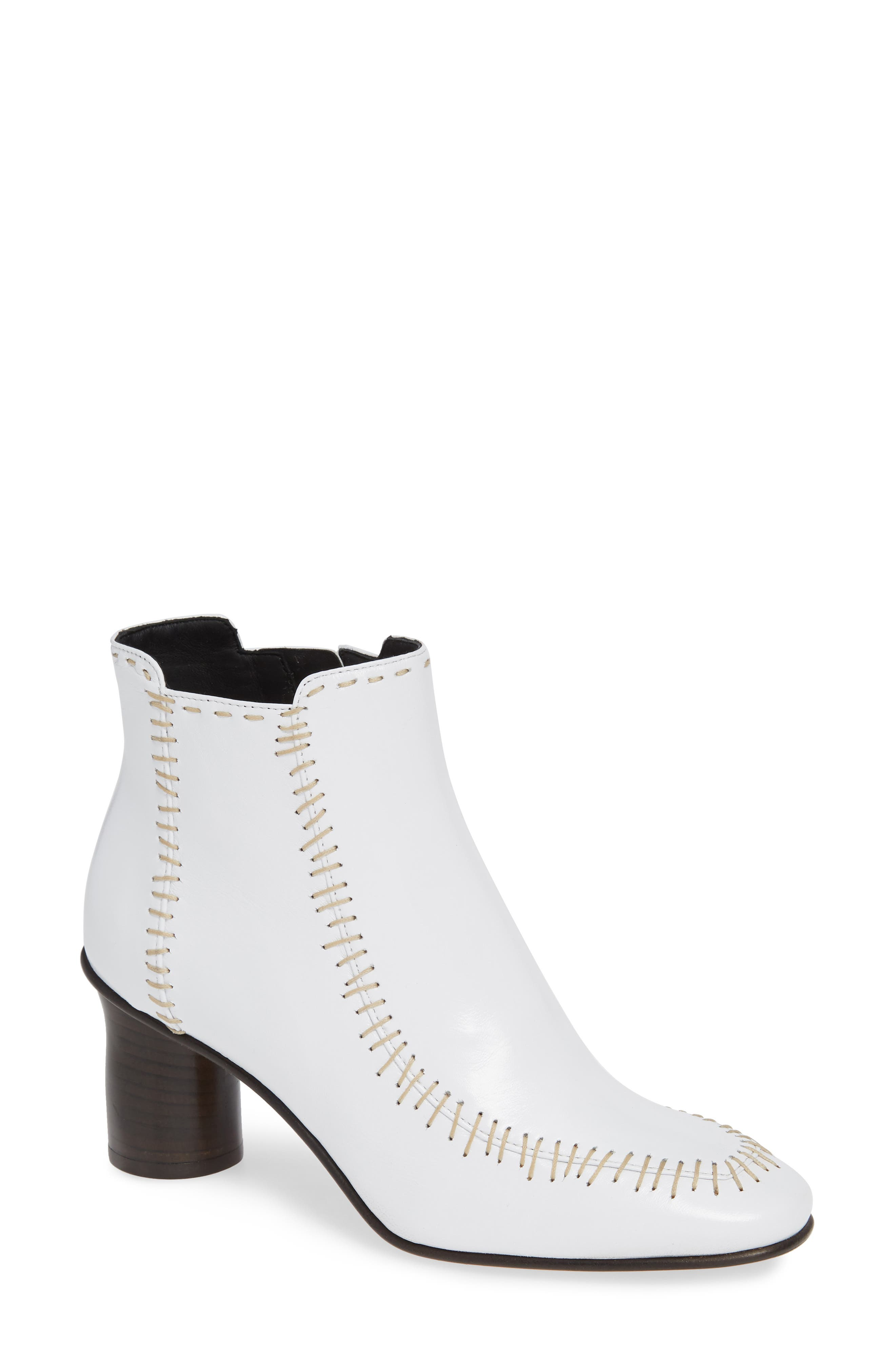 Stitch Leather Bootie,                             Main thumbnail 1, color,                             WHITE