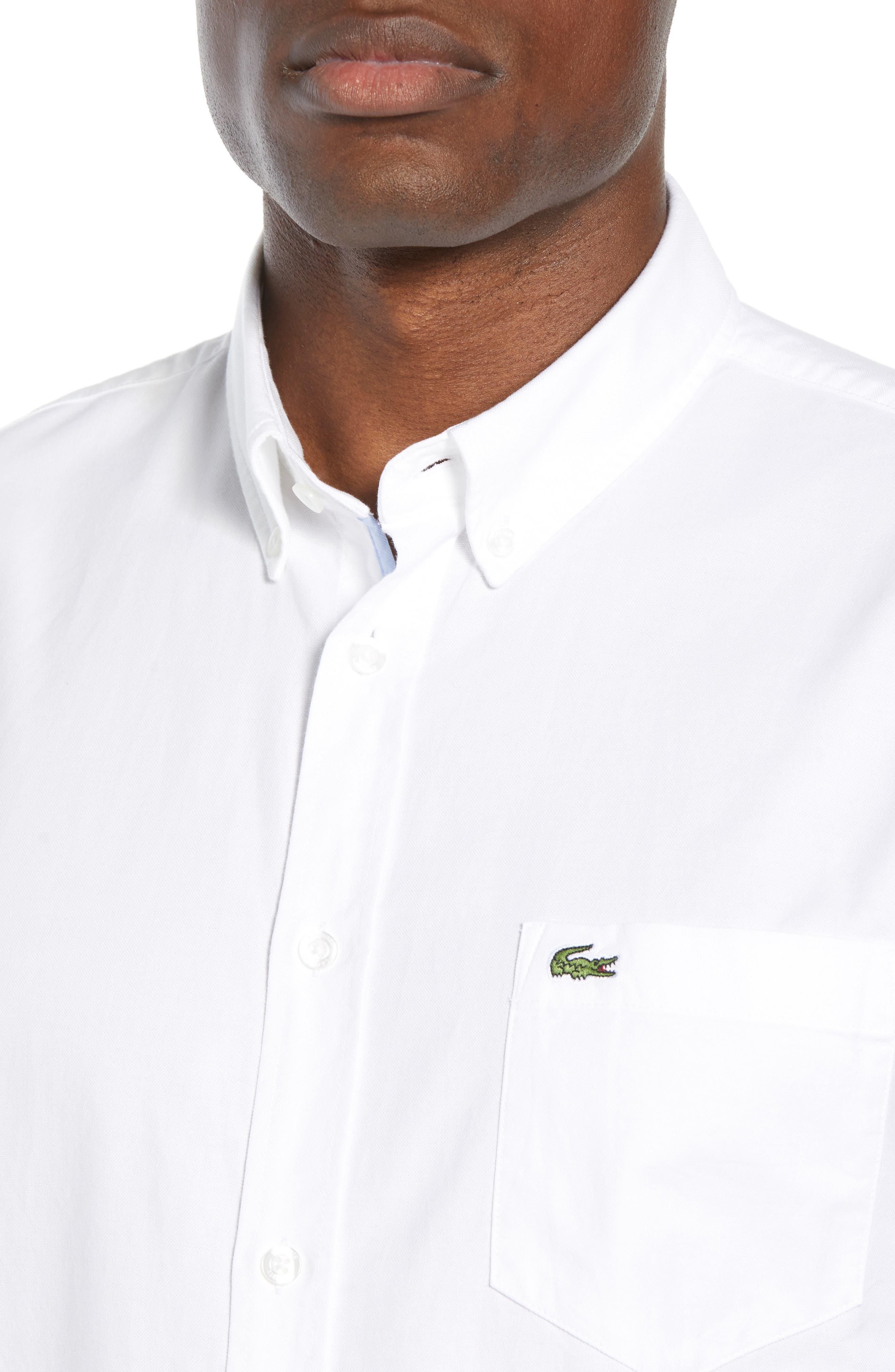 Regular Fit Short Sleeve Cotton Sport Shirt,                             Alternate thumbnail 2, color,                             WHITE