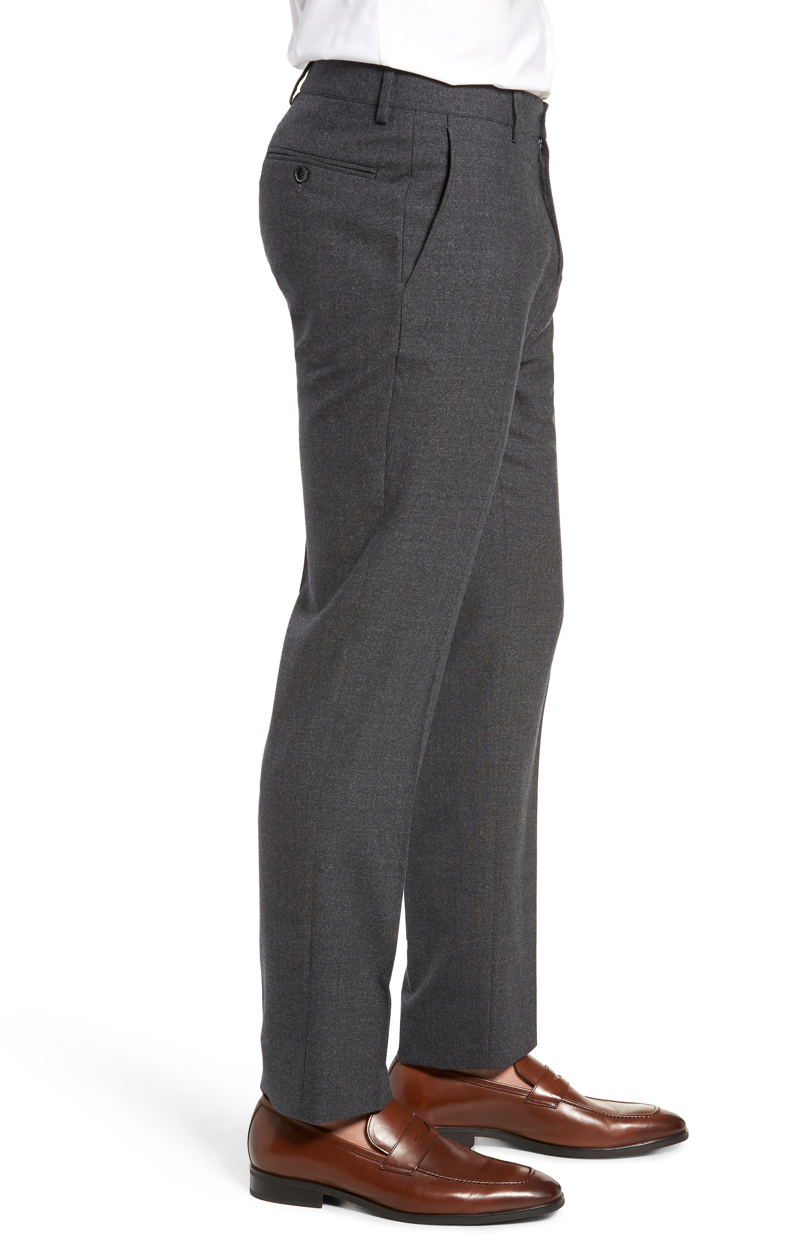 Trim Fit Flat Front Solid Wool Trousers,                             Alternate thumbnail 3, color,                             CHARCOAL