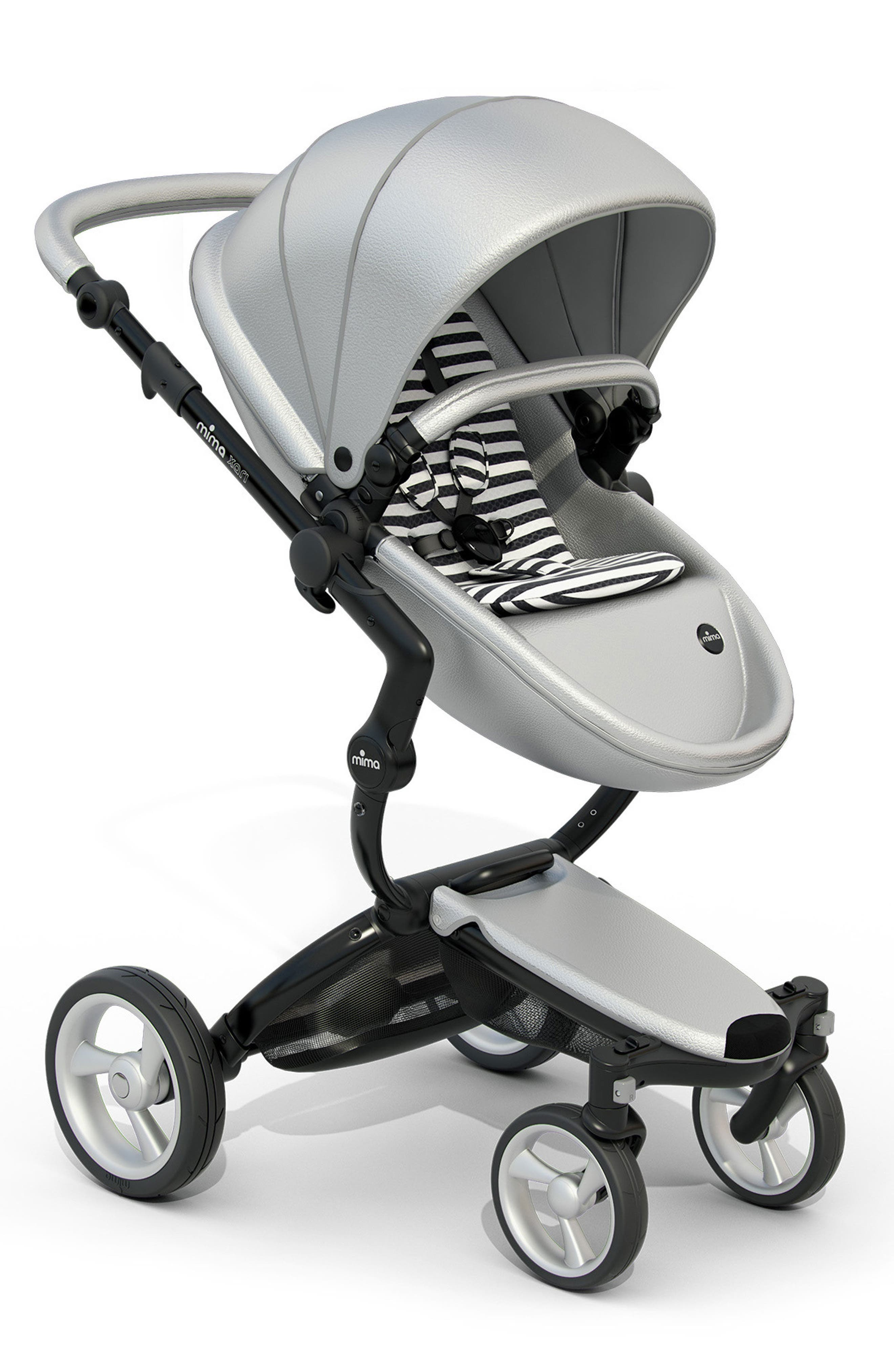 Xari Black Chassis Stroller with Reversible Reclining Seat & Carrycot,                         Main,                         color, BLK/WHT