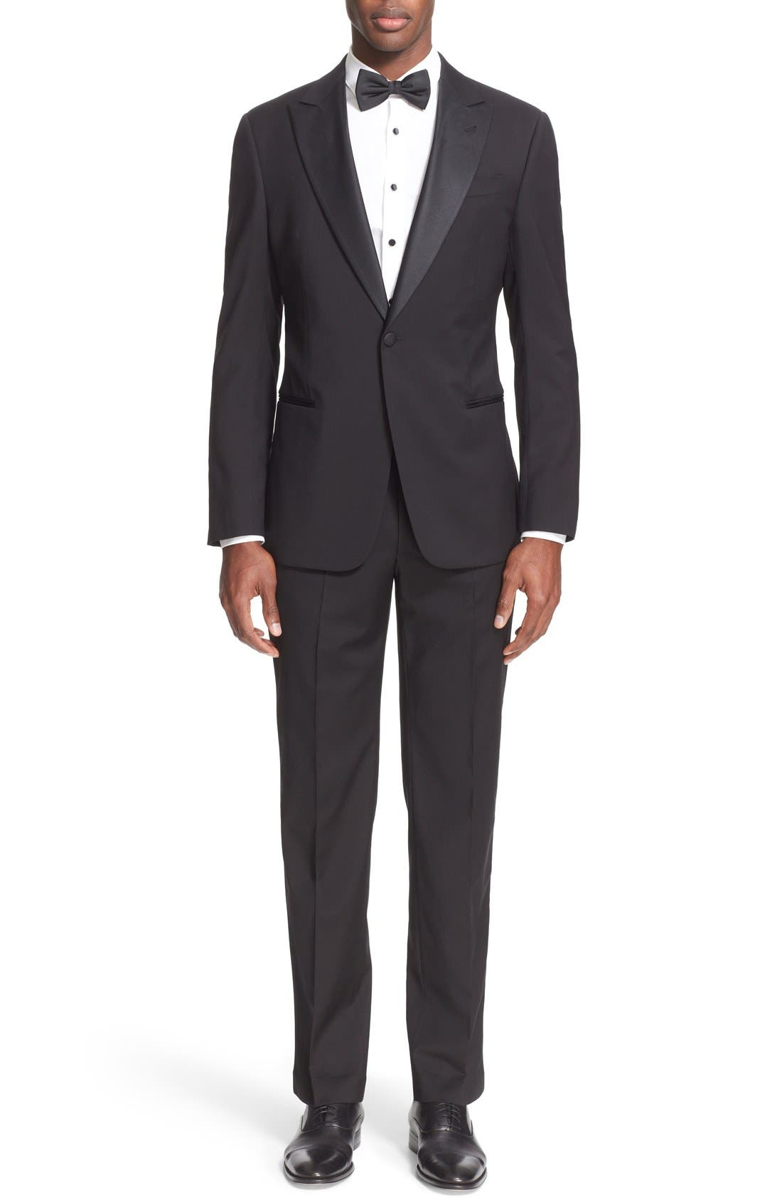 Trim Fit Wool Tuxedo,                             Main thumbnail 1, color,                             001