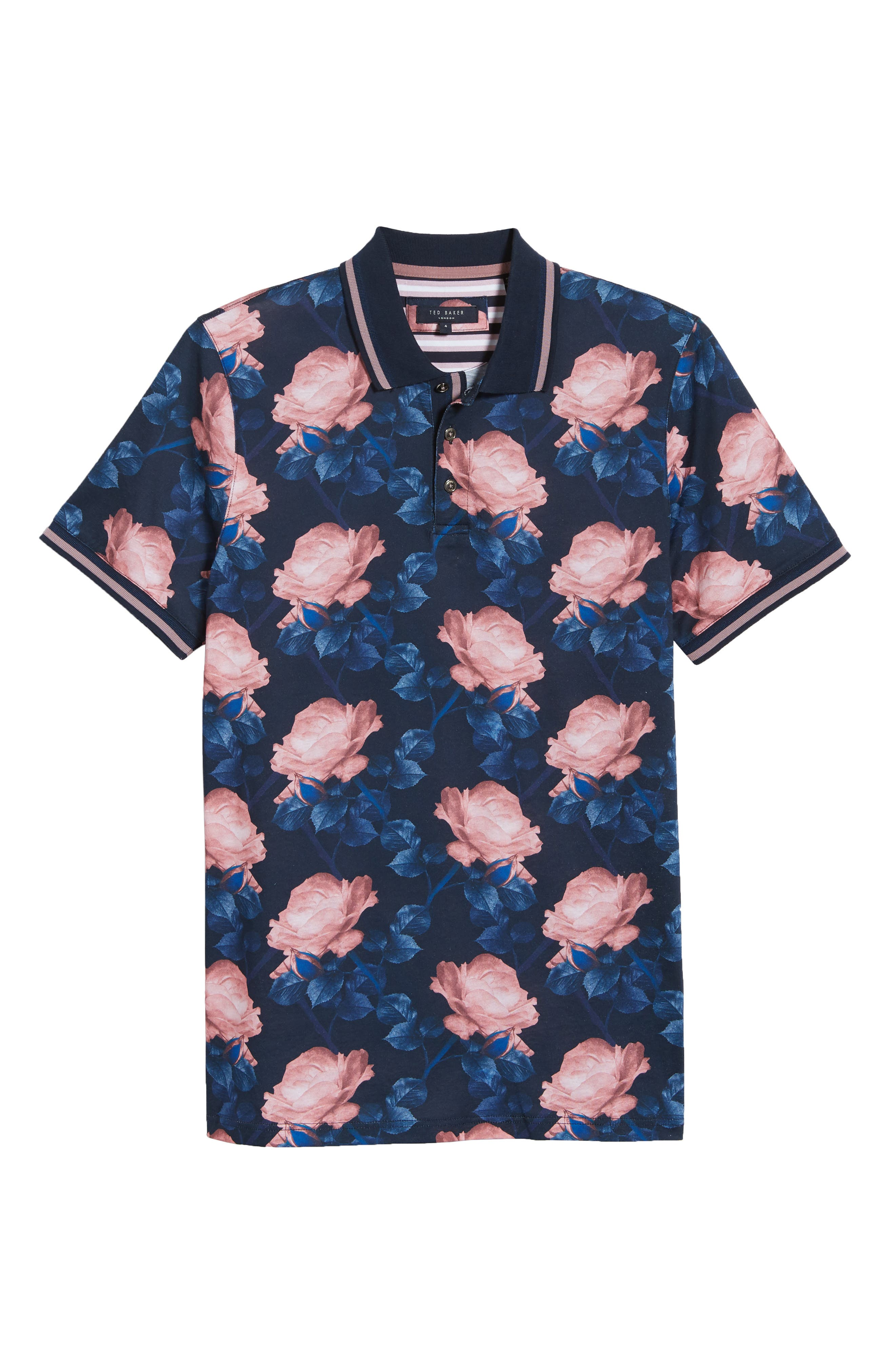 Slim Fit Lively Floral Print Polo,                             Alternate thumbnail 6, color,                             NAVY