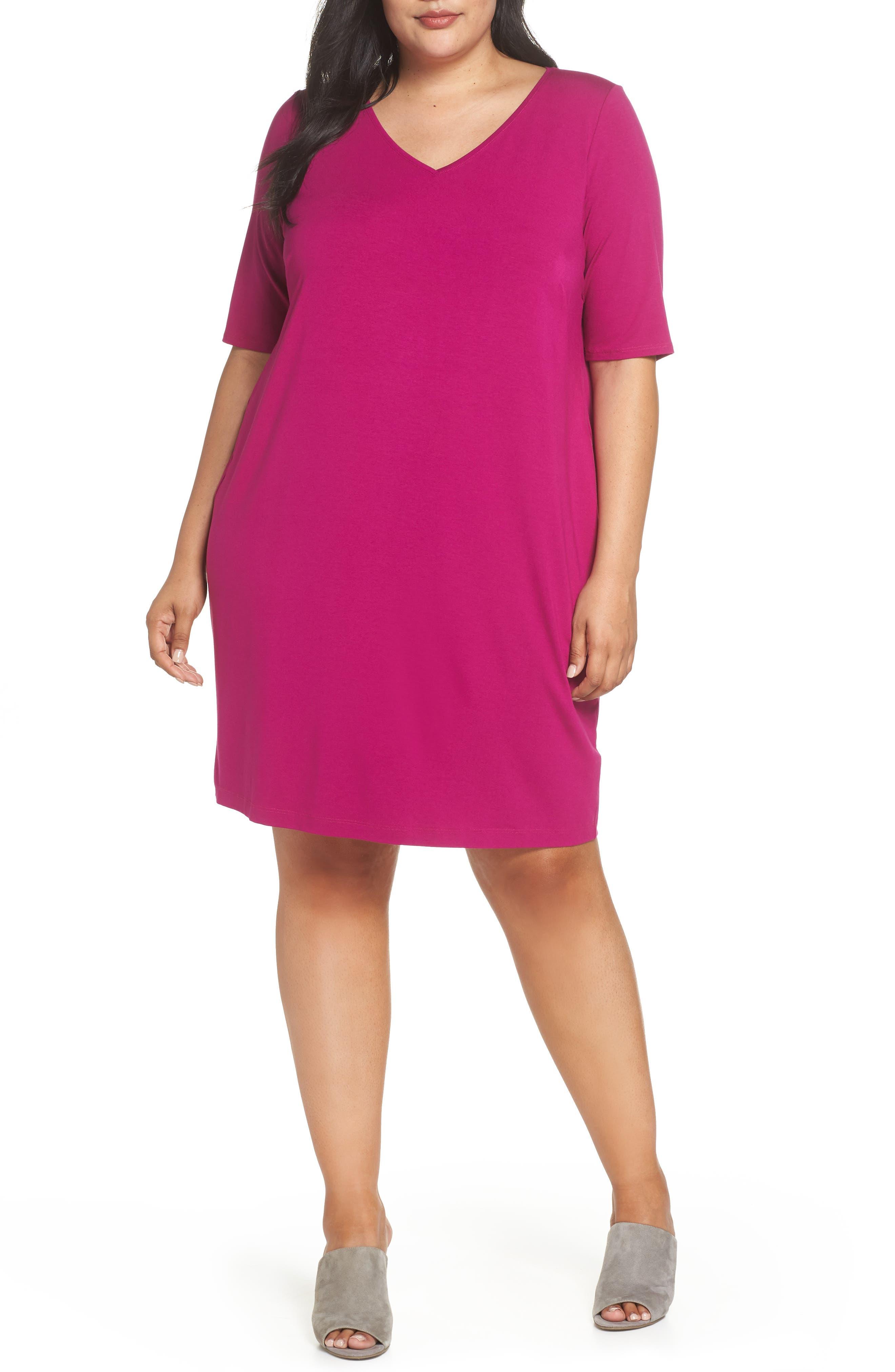 V-Neck Stretch Jersey Shift Dress,                             Main thumbnail 6, color,