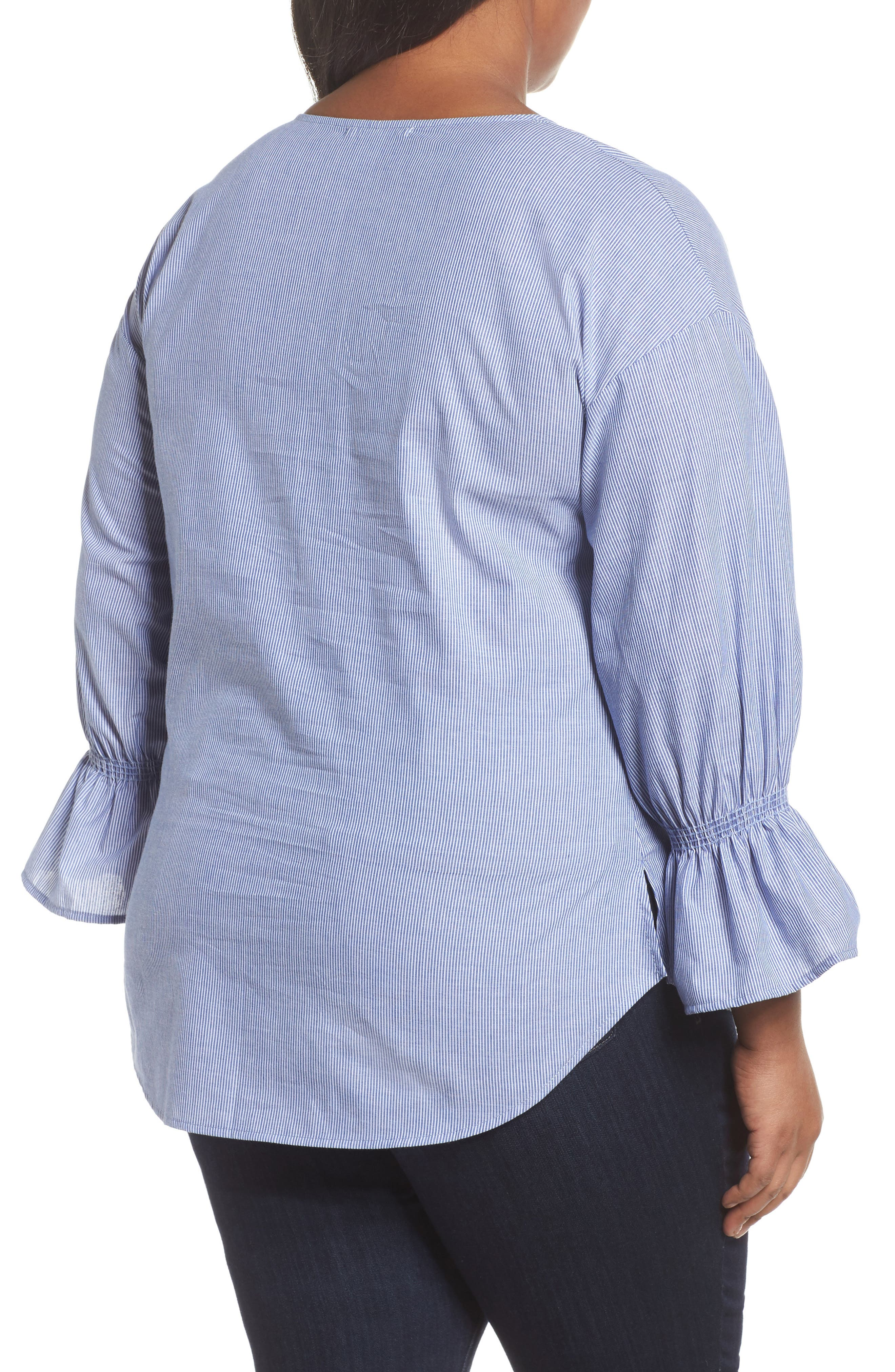Pinstripe Bell Cuff Top,                             Alternate thumbnail 3, color,