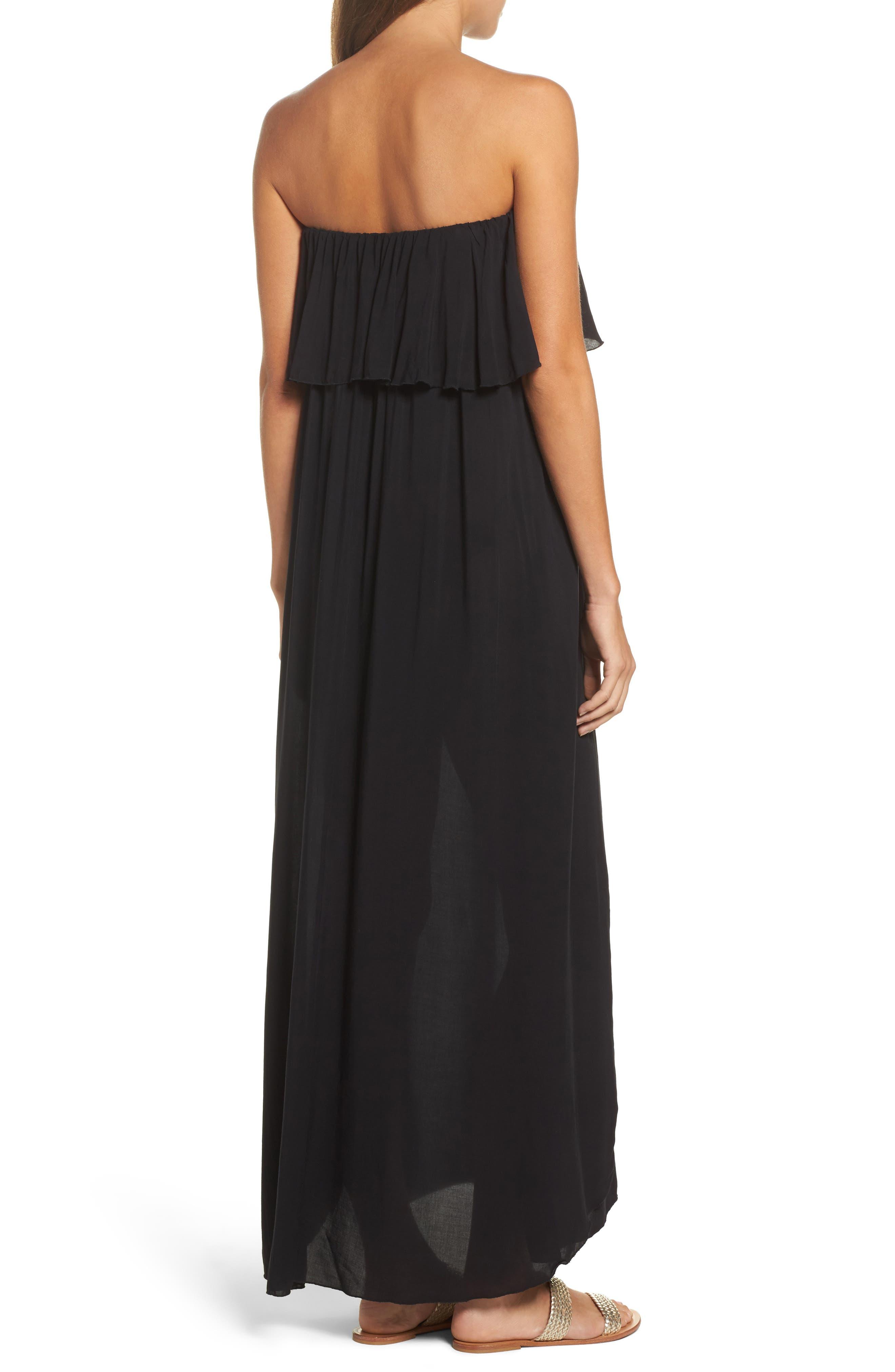 Strapless Maxi Cover-Up Dress,                             Alternate thumbnail 2, color,                             BLACK