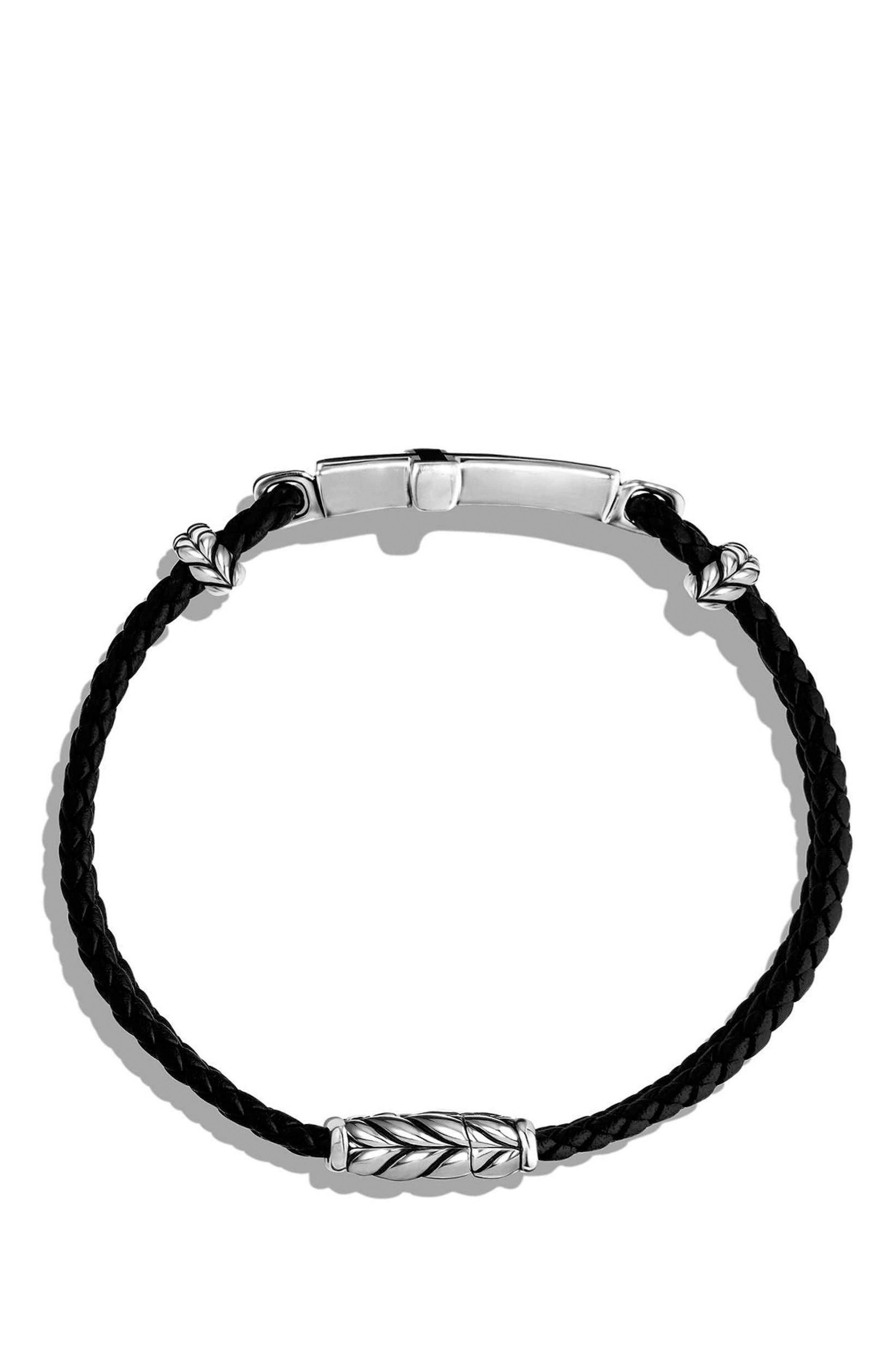 'Exotic Stone' Cross Station Leather Bracelet with Black Onyx,                             Alternate thumbnail 3, color,                             SILVER/ BLACK ONYX