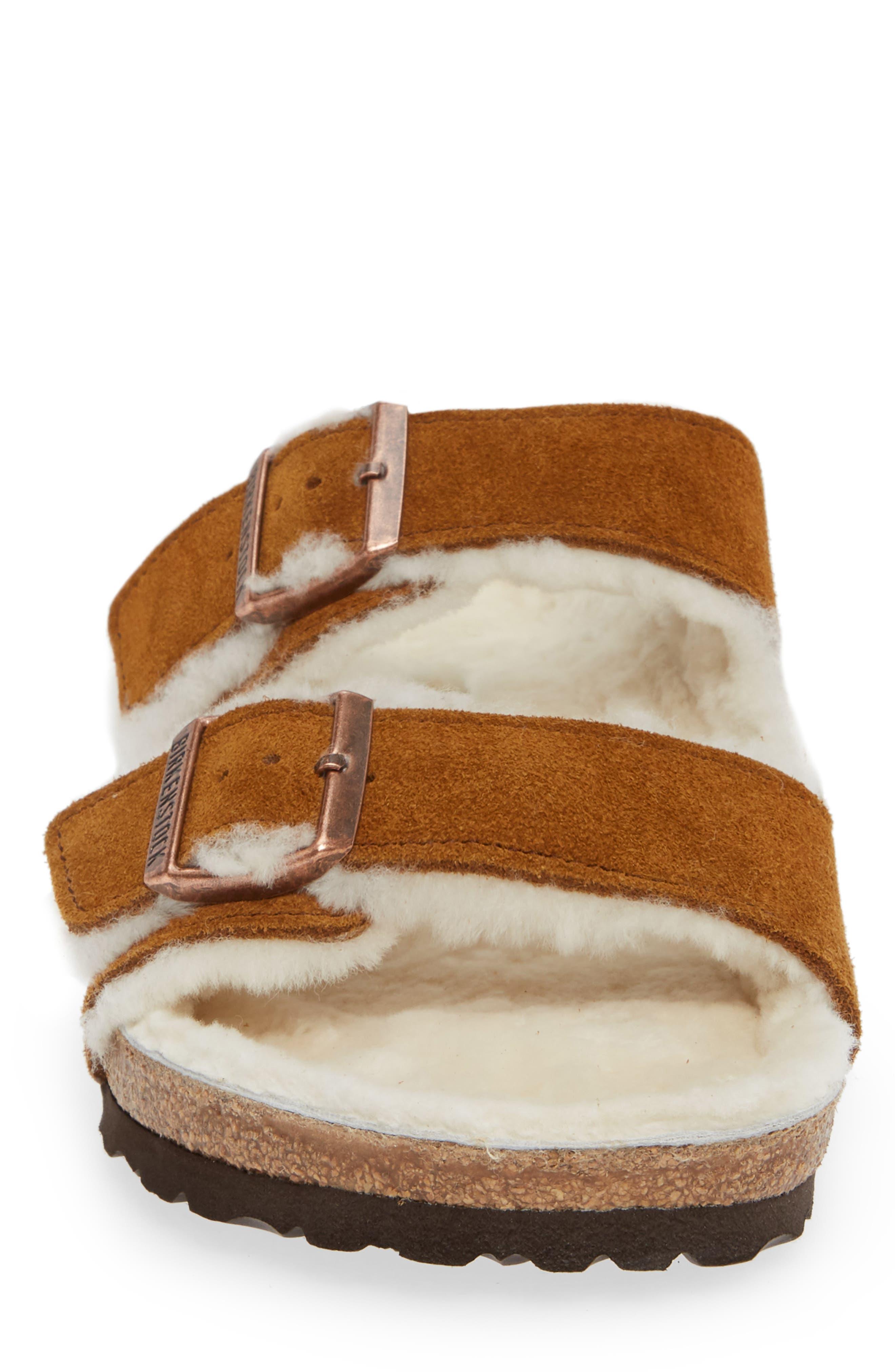 Arizona Slide Sandal with Genuine Shearling,                             Alternate thumbnail 4, color,                             BEIGE