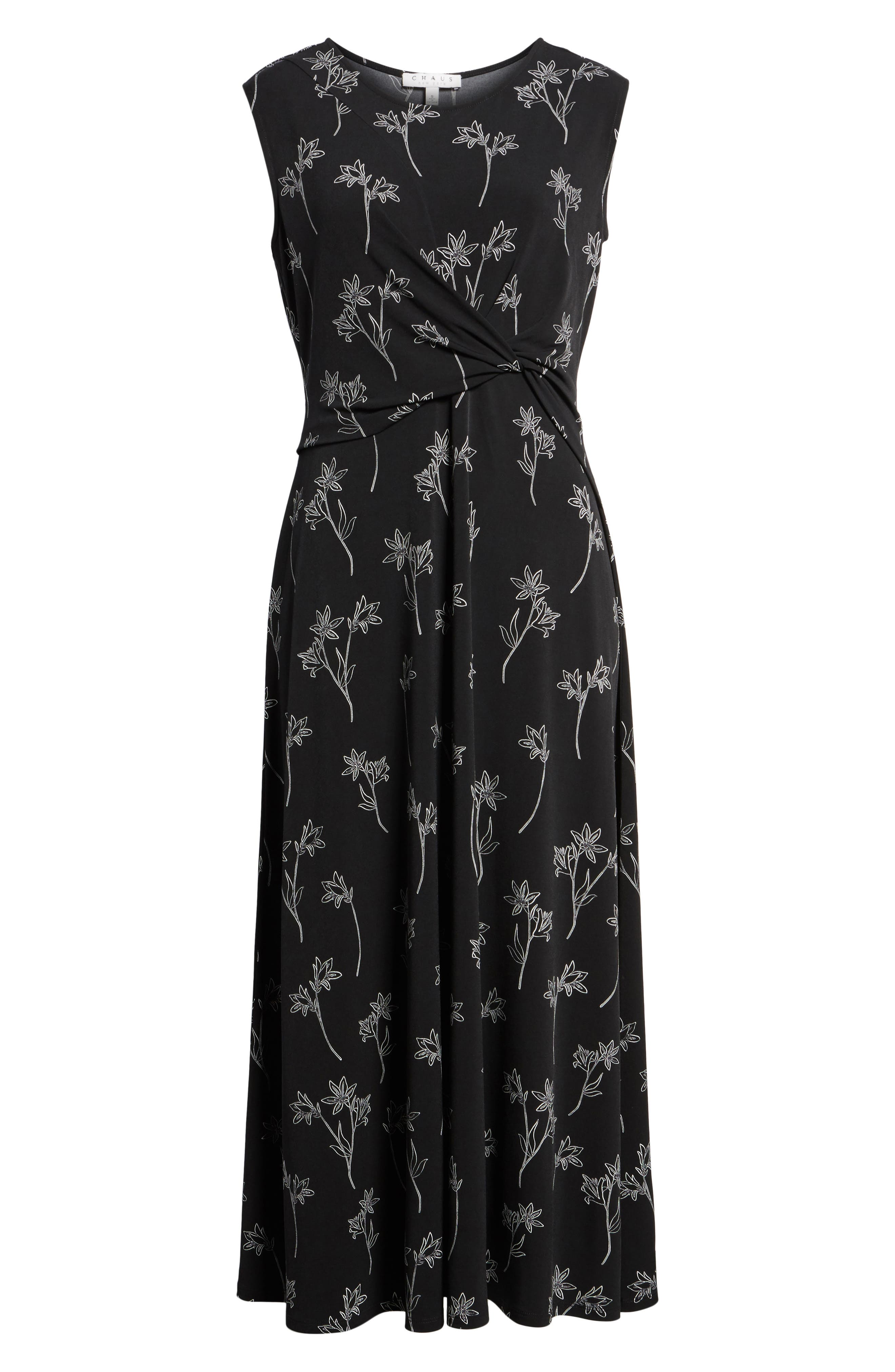 Floral Outlines Knot Front Maxi Dress,                             Alternate thumbnail 6, color,                             001