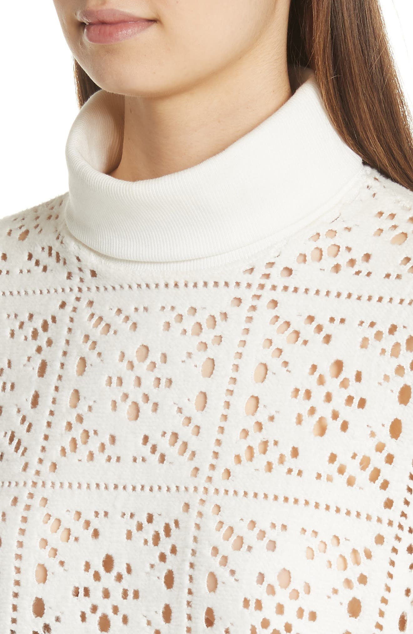 Lace Turtleneck Sweater,                             Alternate thumbnail 4, color,                             101