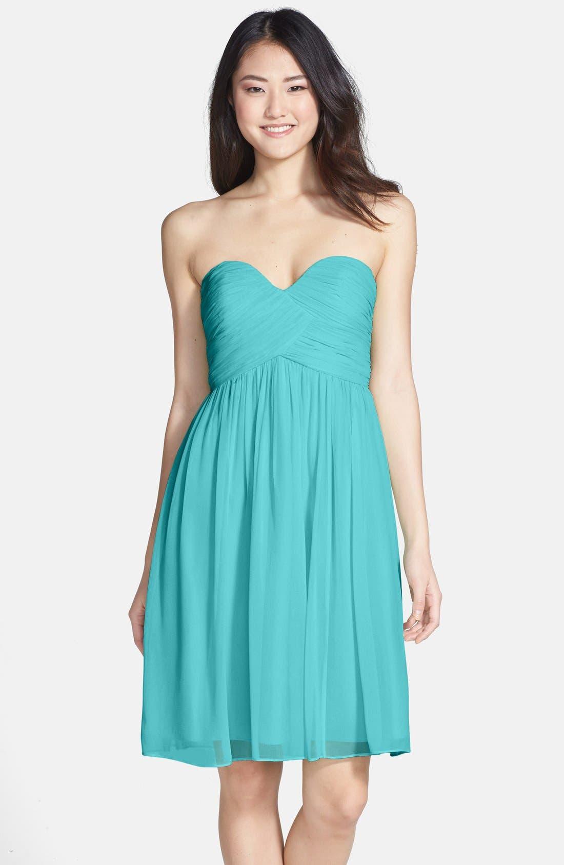 'Morgan' Strapless Silk Chiffon Dress,                             Main thumbnail 15, color,