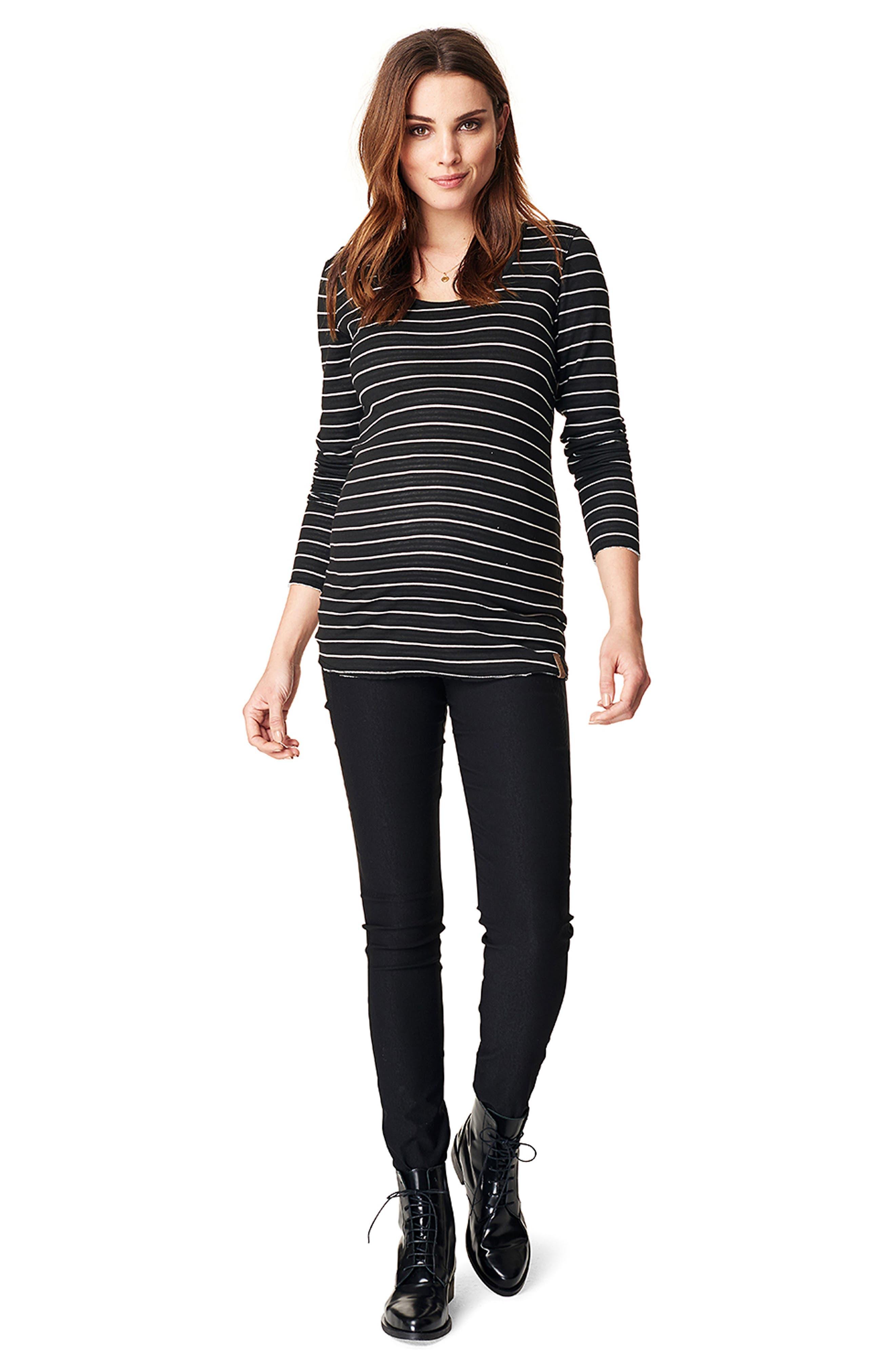Ivy Stripe Maternity Shirt,                             Alternate thumbnail 4, color,                             BLACK